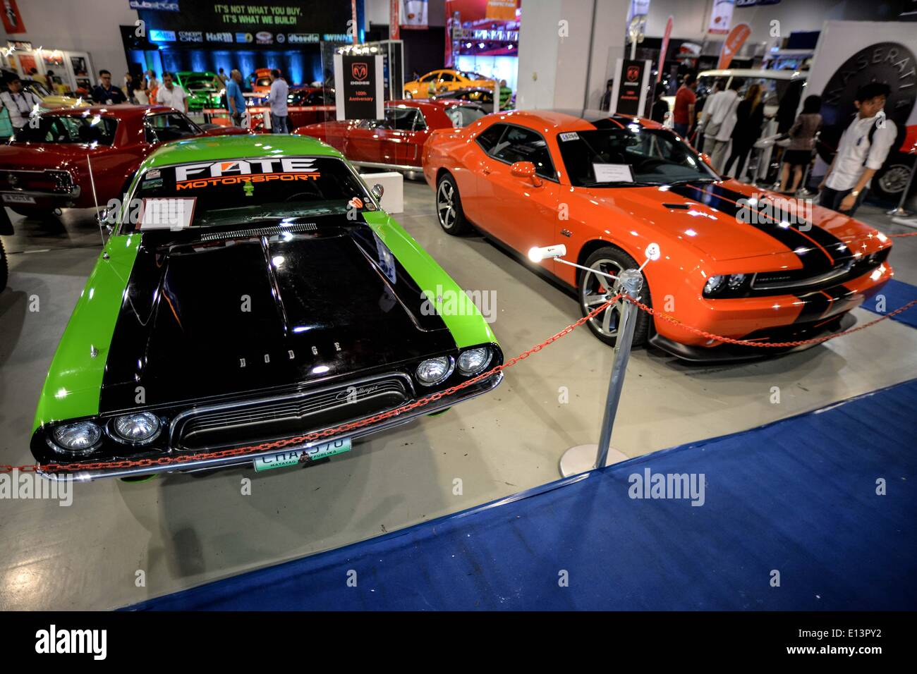 Pasay, Philippines. 22nd May, 2014. Dodge Challenger muscle cars are ...