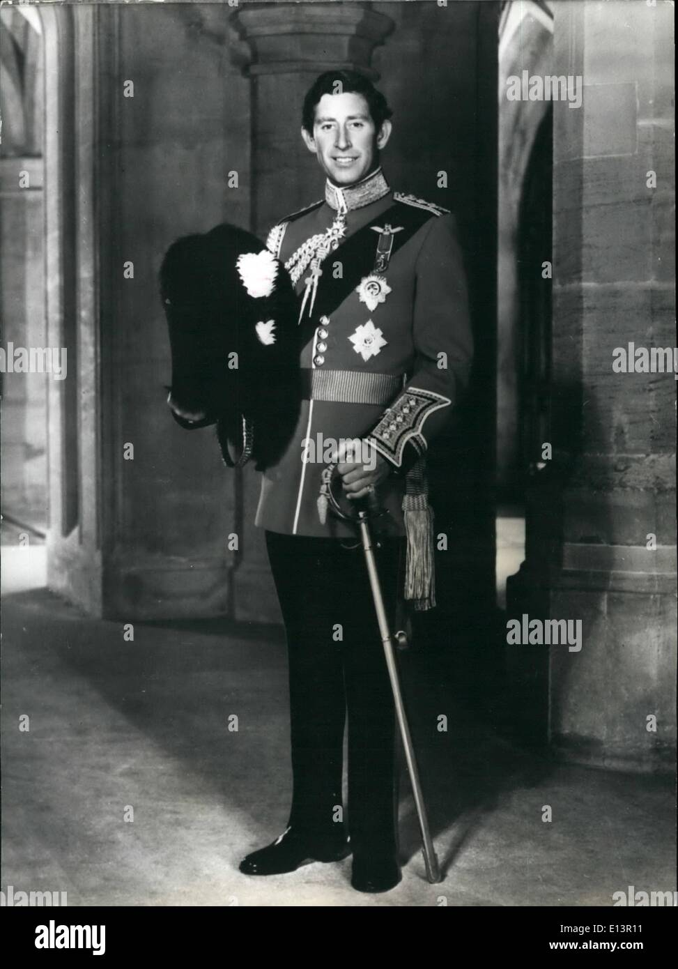 Mar. 22, 2012 - H.R.H. The Prince of Wales . : Photographed at the Grand Hall, Windsor Castle, wearing the uniform of a Colonel - Stock Image