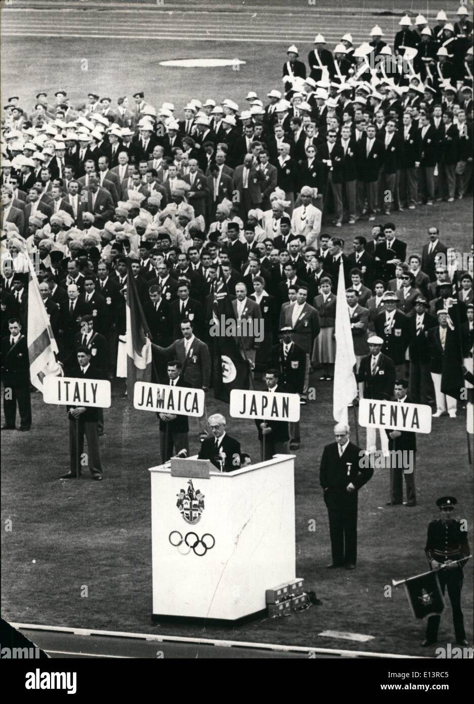 Mar. 27, 2012 - On Thursday 22, 11, 1958: the opening ceremonies of the XVI Olympic summer games begun in Melbourne, The chef of the organization of the Olympics is making his speech. - Stock Image