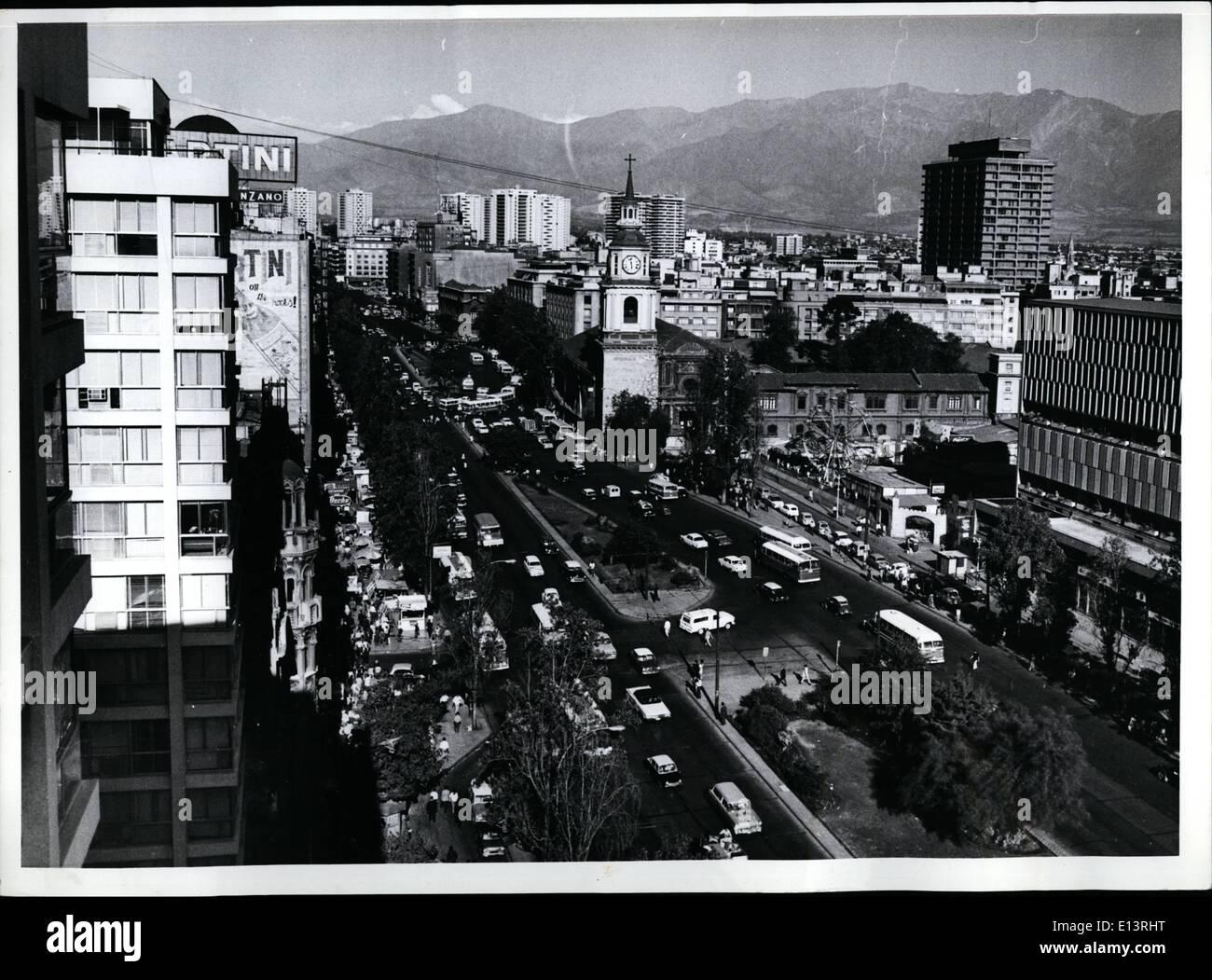 Mar. 27, 2012 - Santigao de Chile: Avenida Bernardo O'Hoggins, in center: the Old Church and Convent of San Francisco. - Stock Image