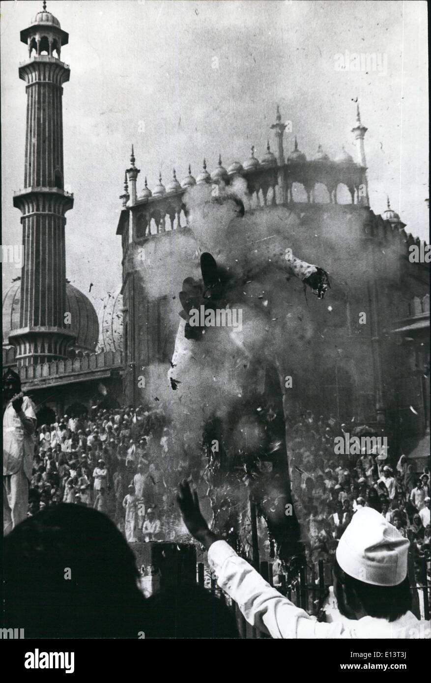 Mar. 27, 2012 - Members of various Muslim organisations burning an effigy of ''anti-Islamic forces'' to protest against the seizure of the Islam's holiest of holies, the Kasba, at the Great Mosque in Mecca, after the ir special prayers at Jama Masjid in Delhi on Friday - November 23, 1979. - Stock Image