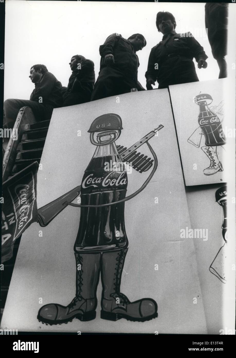 Mar. 27, 2012 - After the announced liquidation the employees occupied the factory of the Coca Cola company in Rome, to protest - Stock Image