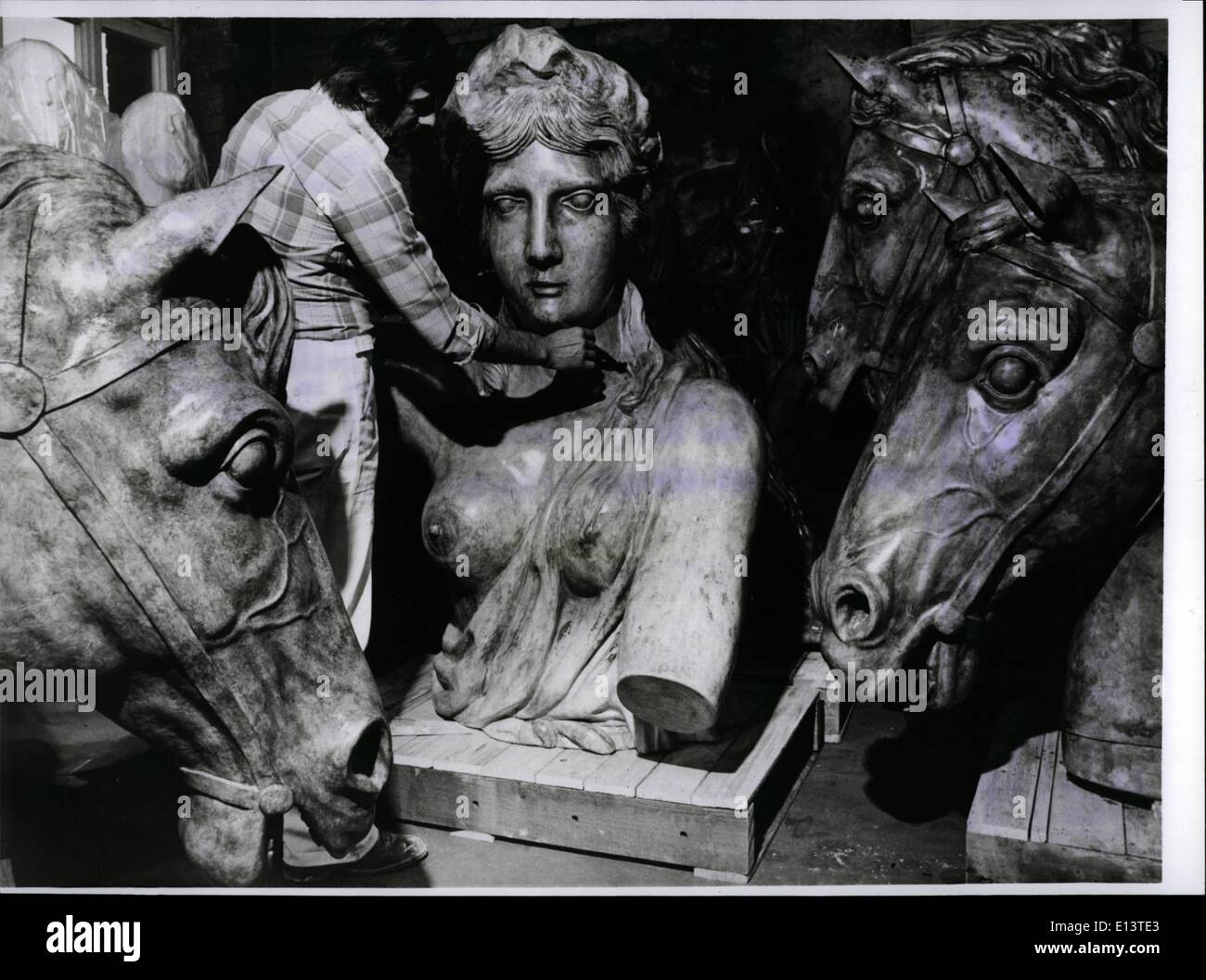 Mar. 27, 2012 - Exhibition ''Berlin And The Antique'' The plaster cast of God Victoria of the Brandeburger Tor of Berlin and the horse-heads of her triumphal car are exhibited now in the orangerie of the castle Charlottenburg. It's the eye- catcher of the great exhibition ''Berlin and the Antique'', which decoy from April 22 to July 232 interested visitors from all over the world to Berlin. The exhibition is connect with the 150 birthday of the German Archaeologist Institute - Stock Image