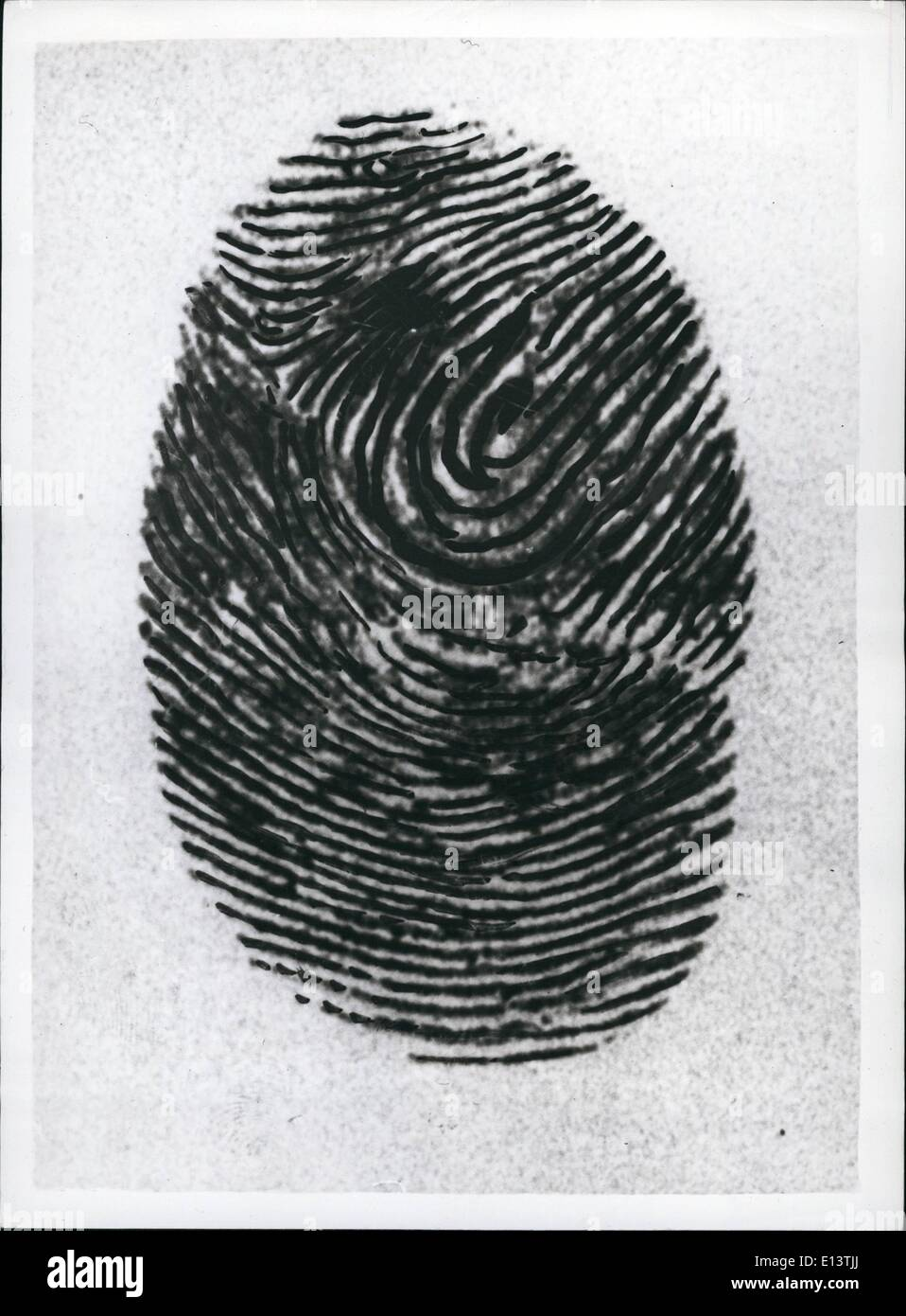 Mar. 27, 2012 - Princess Philip Has His Fingerprints Taken At New Scotland Yard: Prince Philip spent six hours at New Scotland Yard yesterday studying police methods, looking at horror weapons in the Black Museum, visiting the Rogue's Gallery, the Forensic Laboratory, and the Fingerprint department, where he agreed to have his fingerprint taken. Photo Shows: The Prince's ''Dab'' - the print from his middle finger of his left hand. - Stock Image