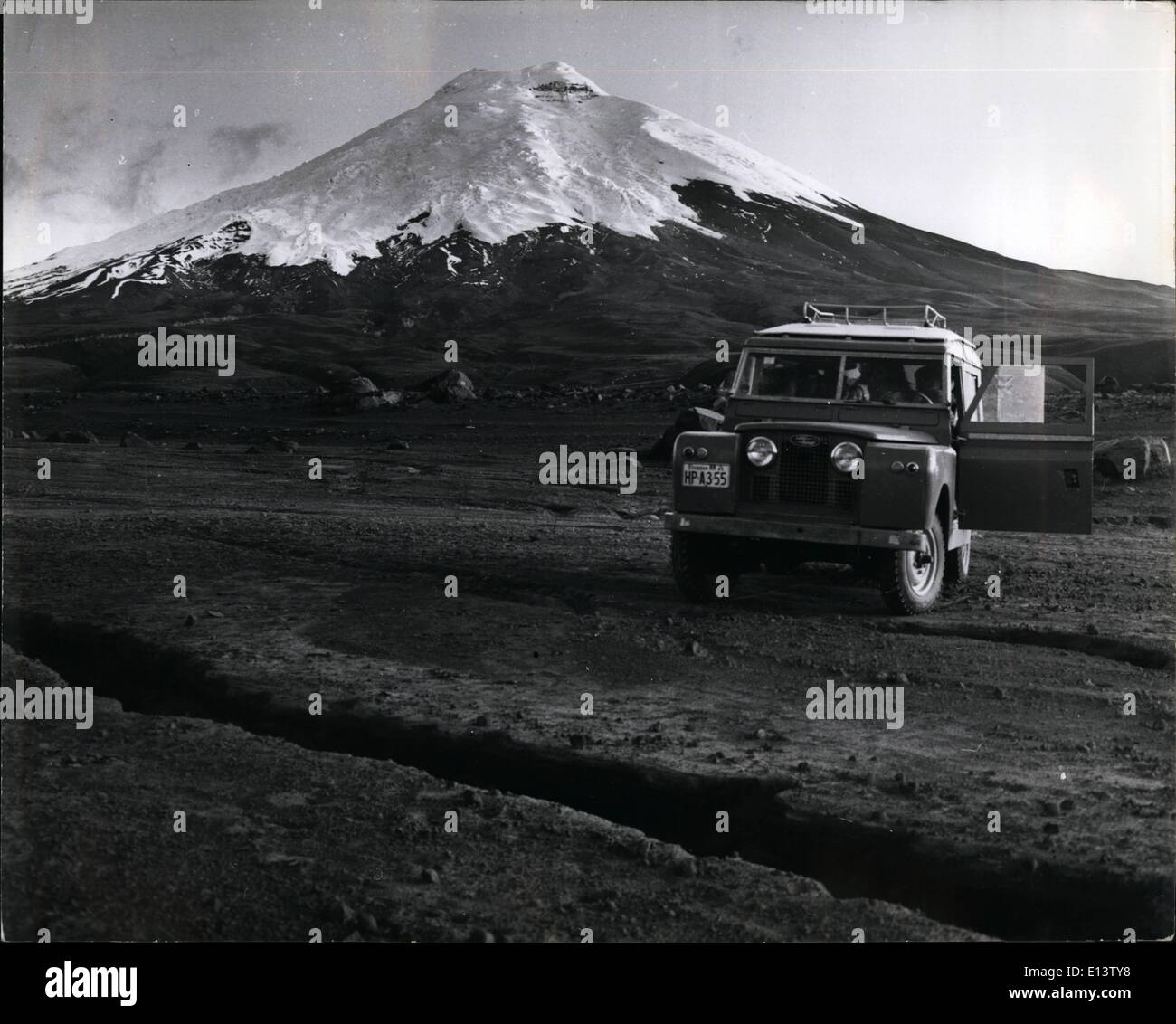 Mar. 27, 2012 - Cotopaxi appears in this picture with all its magnificence. It is possible to drive as far as the beginning of the snos. Many people, especially trout fishermen visit this place since they can find a lot of trouts in the rivers which come from the thaws. - Stock Image