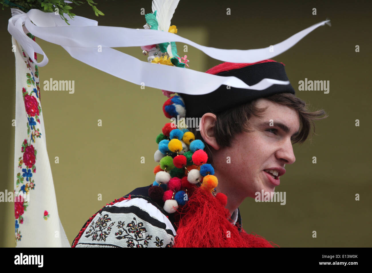 The Ride of the Kings. Traditional folklore festival in Vlcnov, Czech Republic. Young man perform the Recruit. Stock Photo