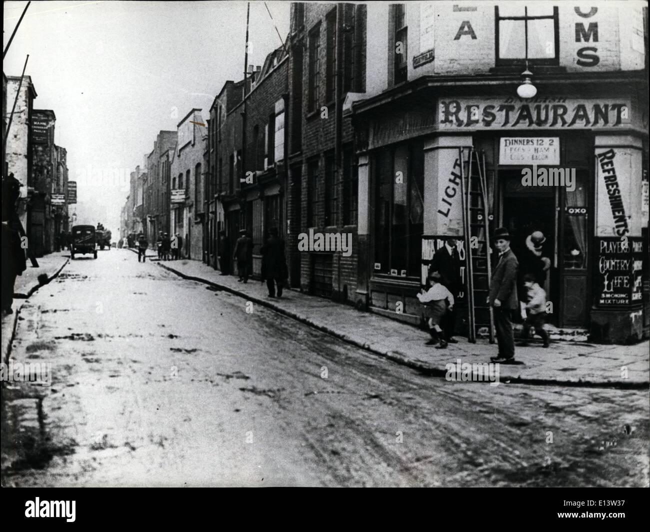 Mar. 27, 2012 - London In The Twenties: Street scene in Penny fields, East London. PR - Stock Image