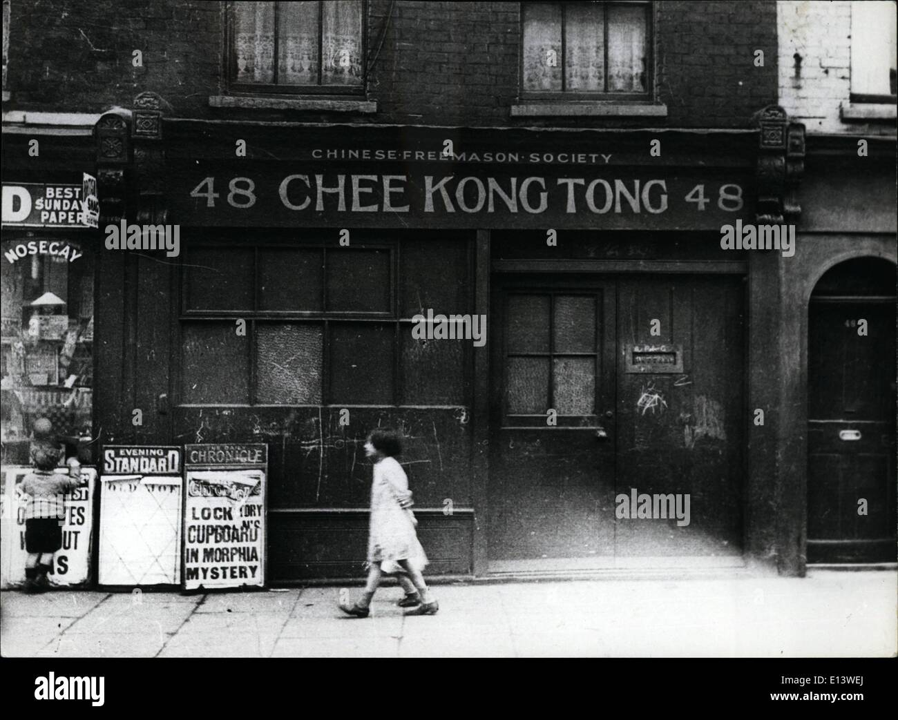 Mar. 27, 2012 - London in the Twenties; Chinese Freemason Society in Limehouse. APRESS - Stock Image