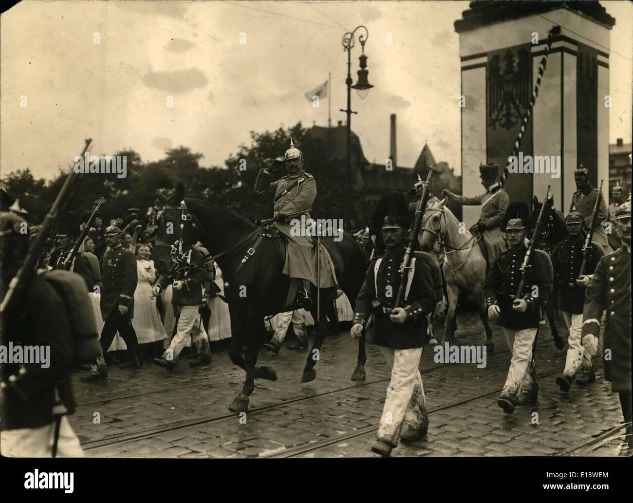 Mar. 27, 2012 - The Kaiser Wilhelm II arriving in Posen for a short visit. Stock Photo