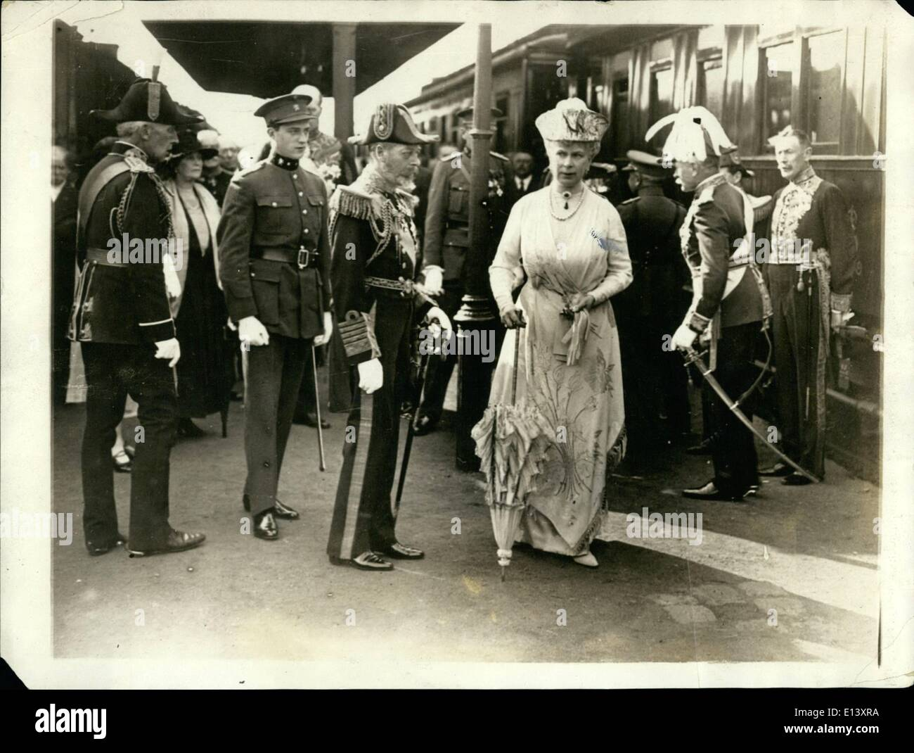 Mar. 27, 2012 - English Rulers visit Belgium: King George and Queen Mary arriving at Brussels. They were met by the Duke of Brabant of Belgium ( left ) at the train. - Stock Image