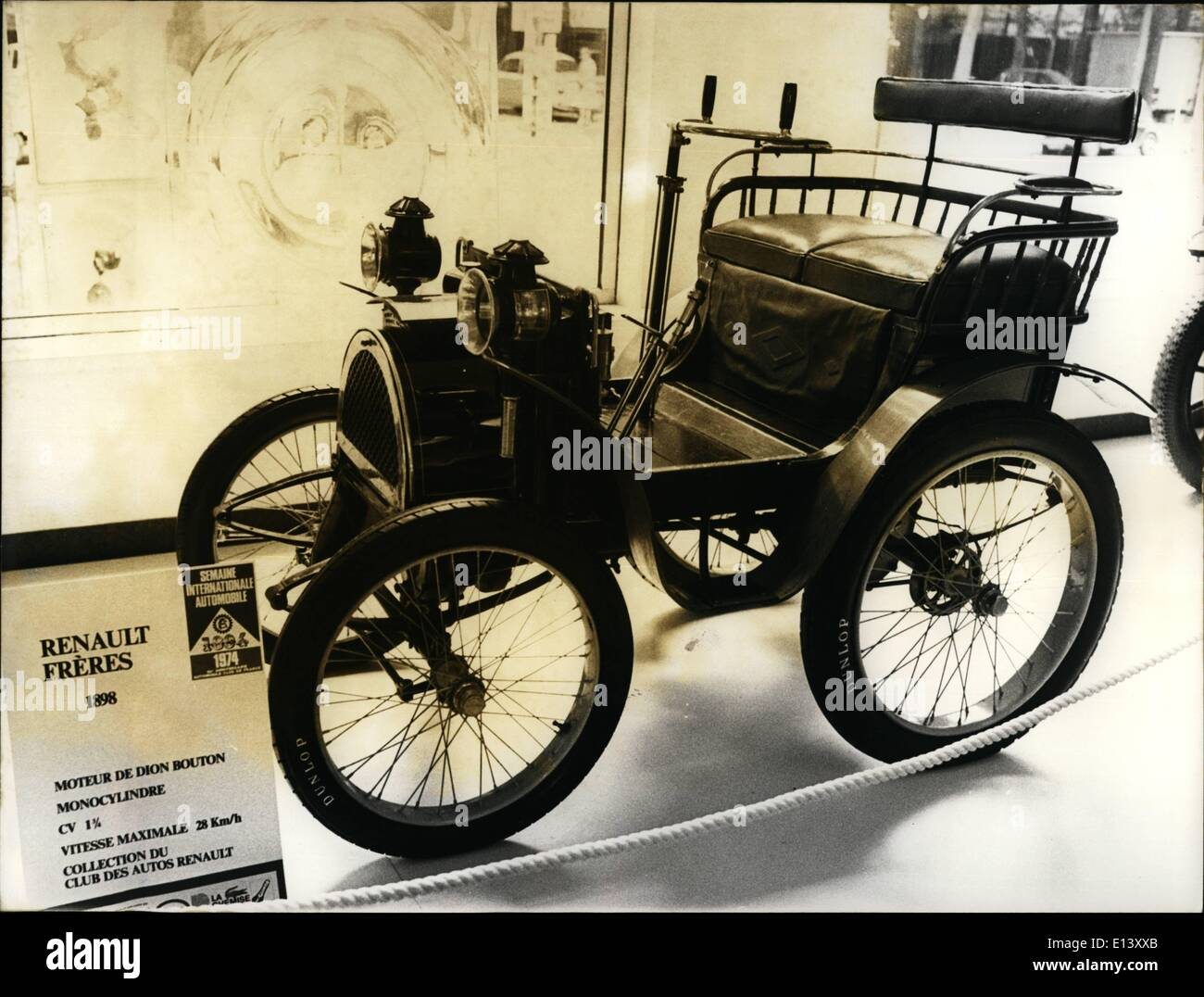 Mar. 27, 2012 - An exhibition of antique cars is taking place at Cardin's in Paris, within the framework of the International Automobile Weekk. Photo shows The famous ''De dion bouton'' auto of Renault Freres of 1898. This car is equipped with a monocylindric motor of 1 3/4 CV. reaching a max. speed of 28 kms per hour. The handsome car comes from the collection of the Club des Autos Renault. - Stock Image