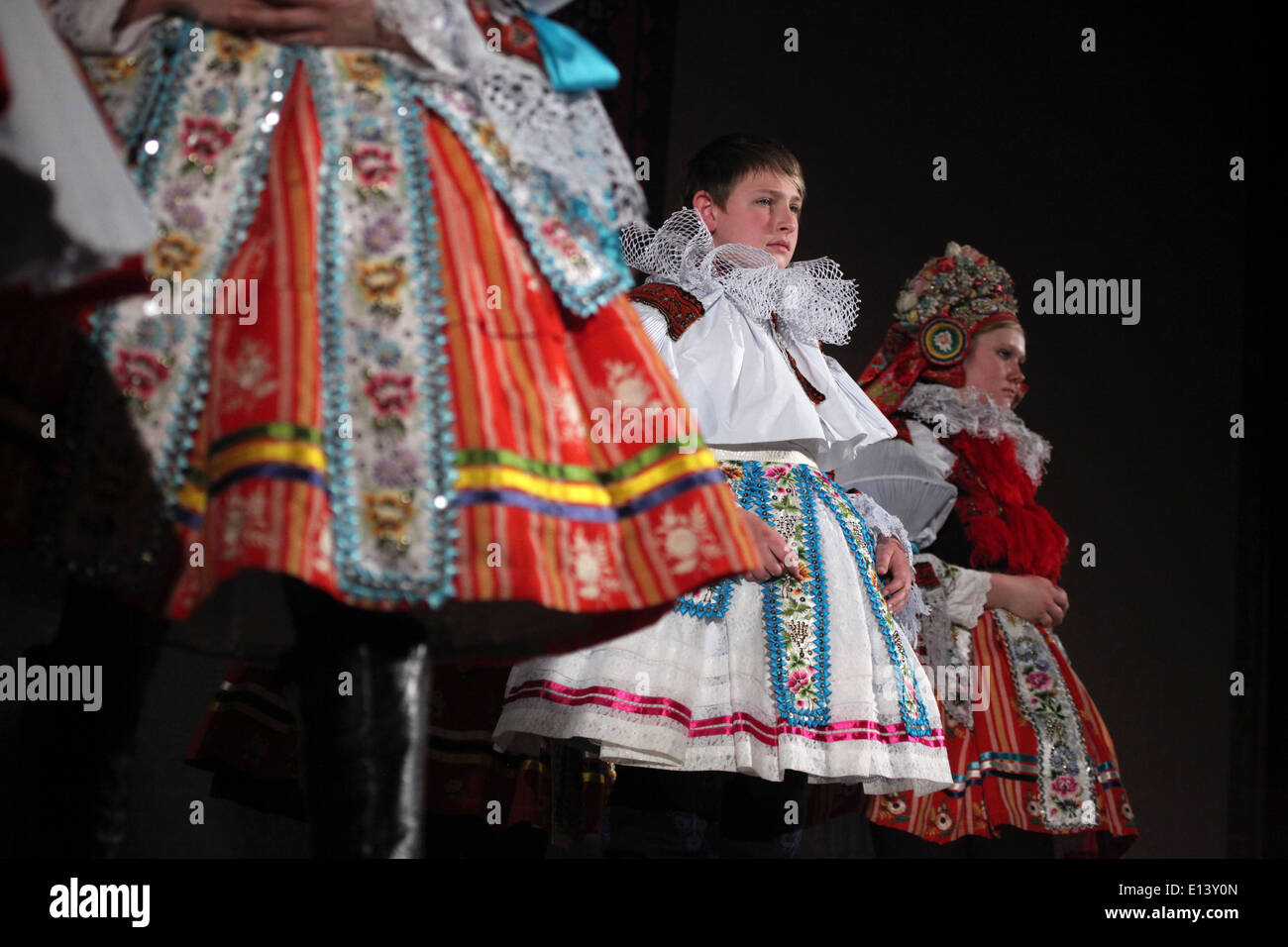 The Ride of the Kings. Traditional folklore festival in Vlcnov, Czech Republic. Coronation ceremony of the boy king. - Stock Image