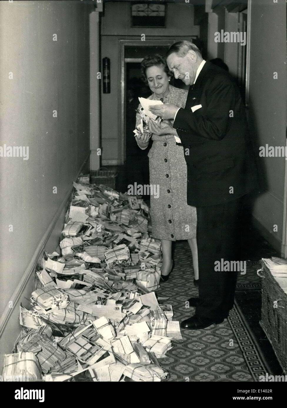 Mar. 31, 2012 - One Million of Cards: ''Thank You M. Coty'' Everyday M. Rene Coty receives thousands of cards with ''Thank You M. Coty''. Those cards are sent by the auditors of a French Broadcasting Radio Luxembourg. OPS: M. Coty reading some of the cards. - Stock Image