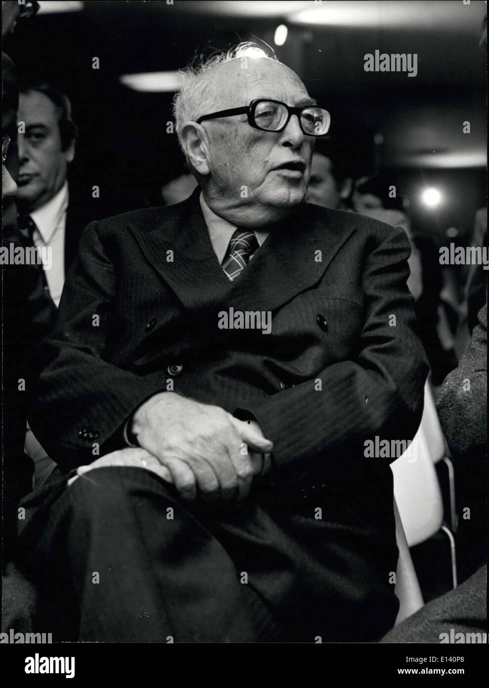 Mar. 31, 2012 - Old socialist leader Peitro Nenni, 82, was elected president of the PSI (Italian Socialist Party) during the works of the Central Committe of the Party. Sen Nenni is one of the most representative figures of the entifascist leaders. Photo shows old leader Pietro Nenni, 82. - Stock Image