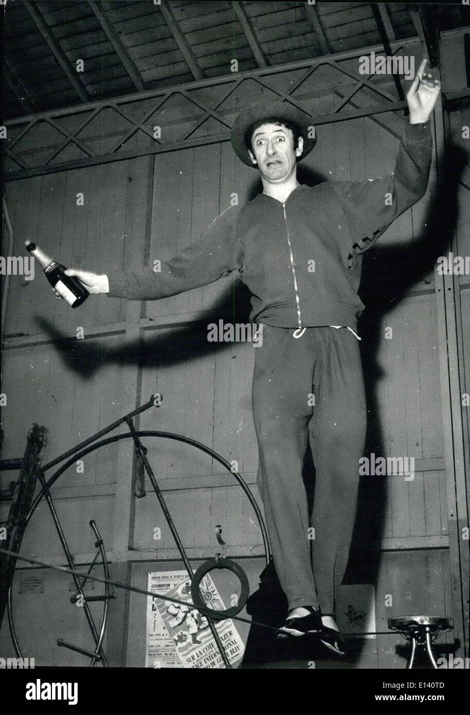 Mar. 31, 2012 - French Mime Marcel Marceau as a Rope Dancer - The Famous French Dancer, Actor and Acrobat, Marcet, Marceau, will perform at the annual Gala de L'Union i Paris Very Soon. OPS M. Marceau Showing His Extraordinary Agility as a Tight Walker. - Stock Image