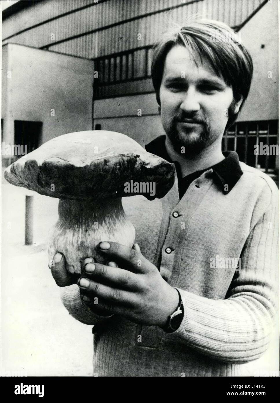 Mar. 31, 2012 - Giant Mushroom With 1, 6 Kilogram A lunch for all his friends could this young man spend by this giant edible mushroom. Jan Tomasek, driver from plzen in Western Bohemia (Czechoslovakia), found it in a near-by forest. The Boletus edulis is weighting ,16 kilogram. - Stock Image