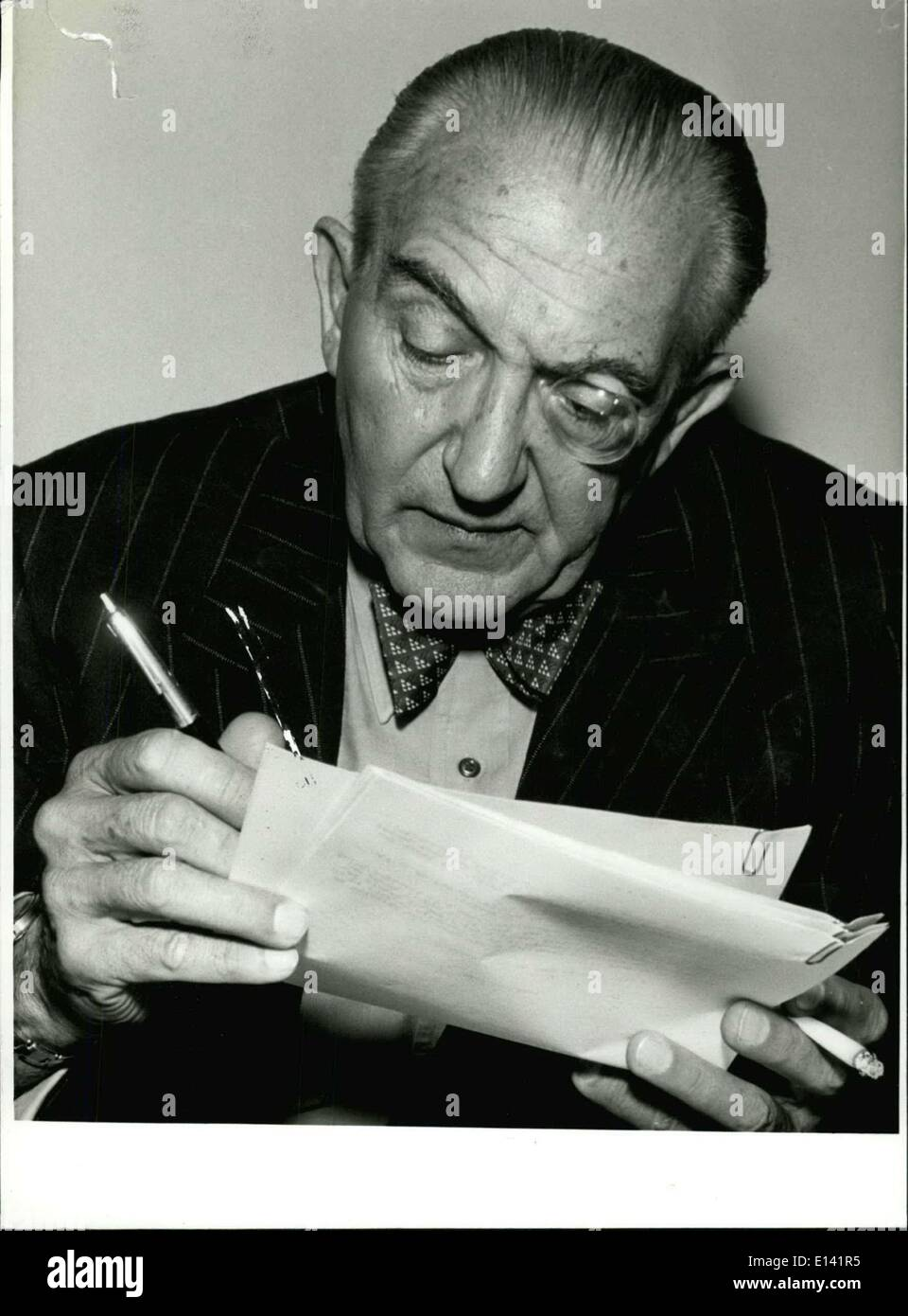 Mar. 31, 2012 - 5.12.7980: 90th. Birthday of Fritz Lang (+) On December 5th the well-known drector and producer of films Fritz Lanz would have become 90 years old. Born 1890 in Venna, during the Republic o Weimar he was the most genius film director. 1919 he shot his first film ''Halbblut'' (Half -blood), but 1921 he became famous with the strip ''Der mude Tod'' (The weary death), a perfected play of light and shadow and the standing out of architectural structures. Then he made such successful films like ''Dr. Marbuse, der Spieler'' (1922) (Dr - Stock Image
