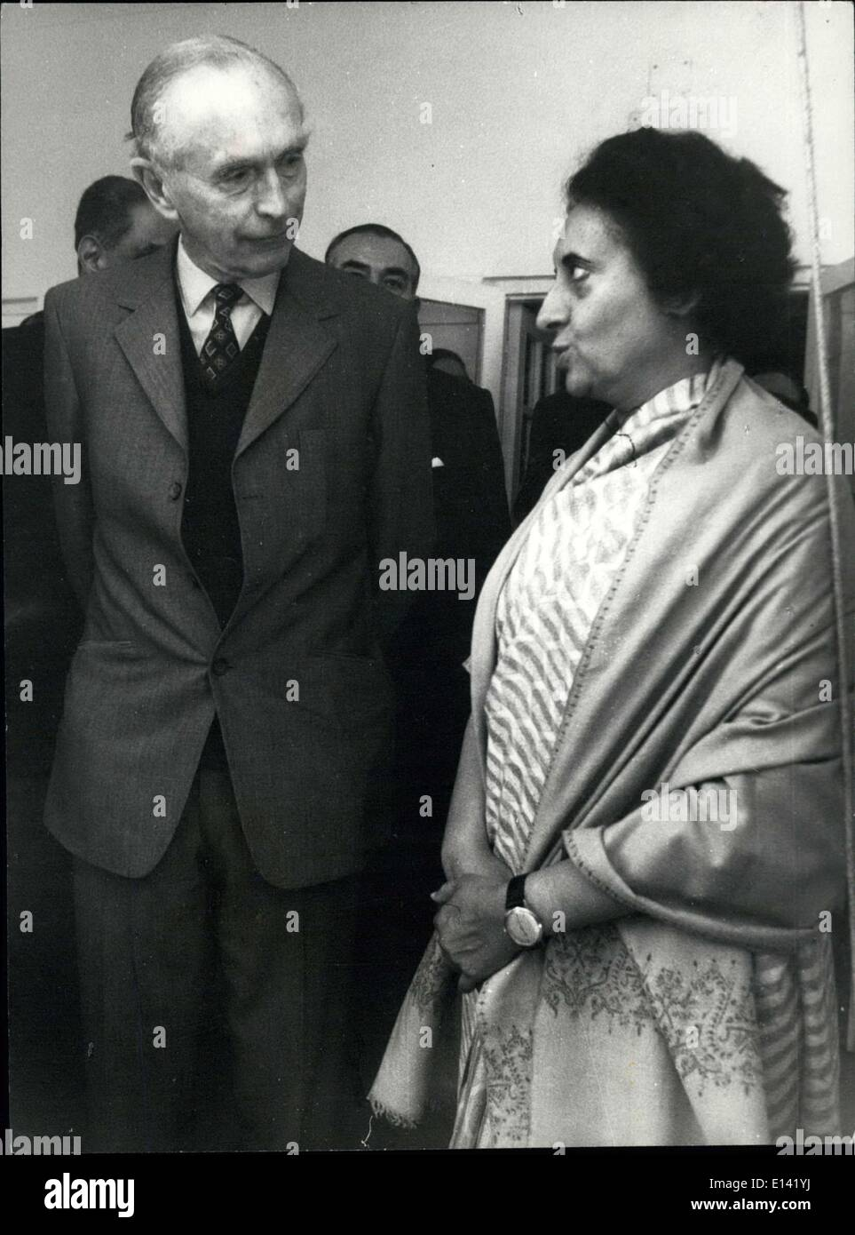 Mar. 31, 2012 - Sir Alec Douglas-Home, U.K. Setary of State for Foreign and Commonwealth Affairs with Prime Minister Mrs. Ind - Stock Image