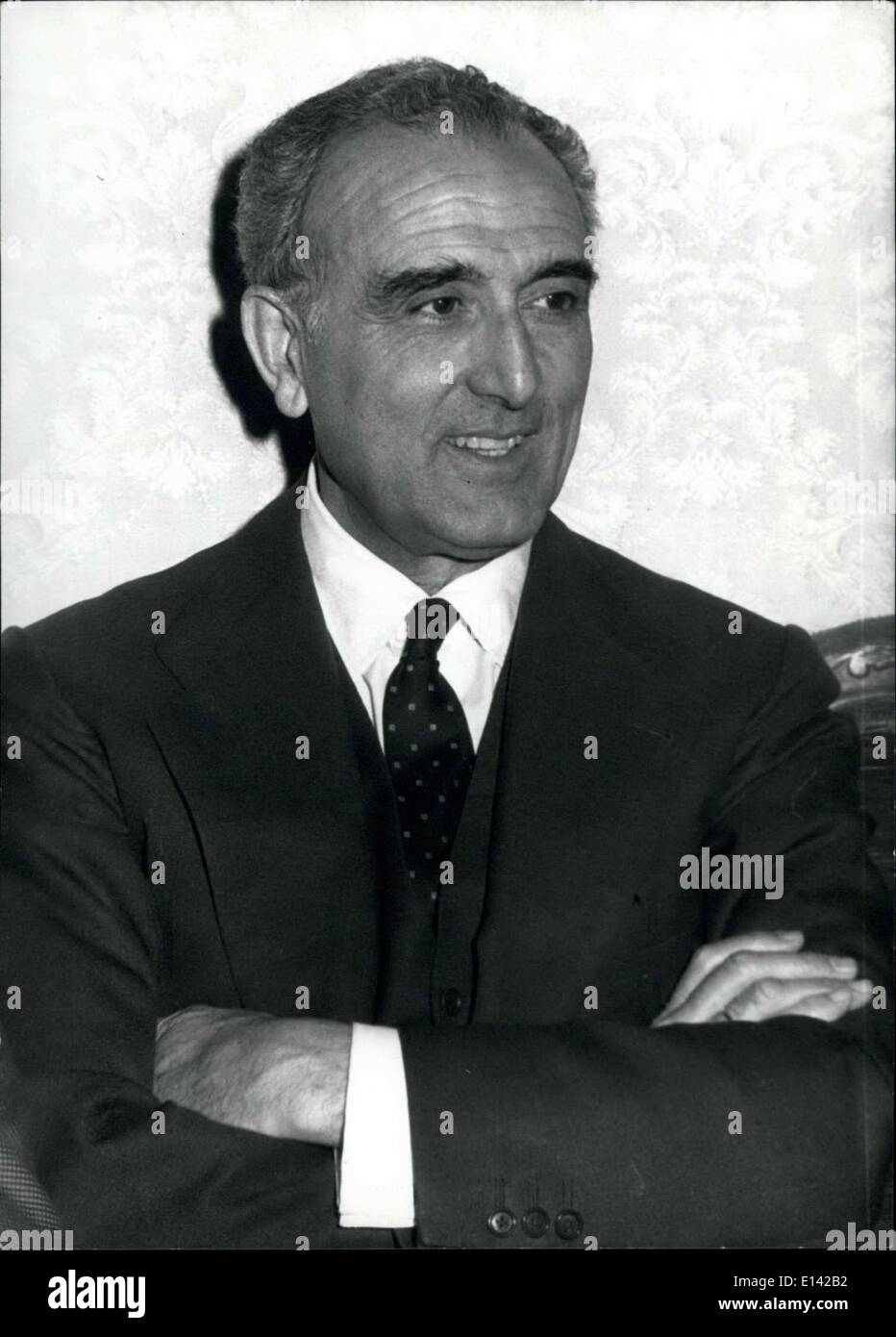 Mar. 31, 2012 - Members of the leftist parties of Spain are in Rome to talk with Italian colleagues. Photo shows Joaquin Ruiz Gimenez, leader of the Democratic left. - Stock Image