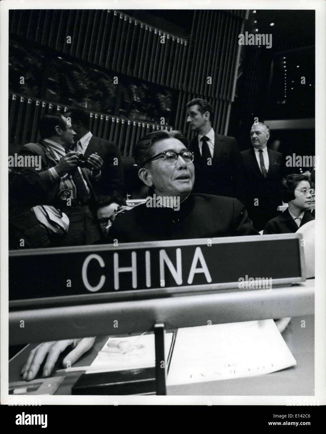 Mar. 31, 2012 - Deputy Foreign Minister of the Peoples Republic of China, Chiao Kuan-Hua was formally seated at the 26th General Assembly of the United Nations - Stock Image