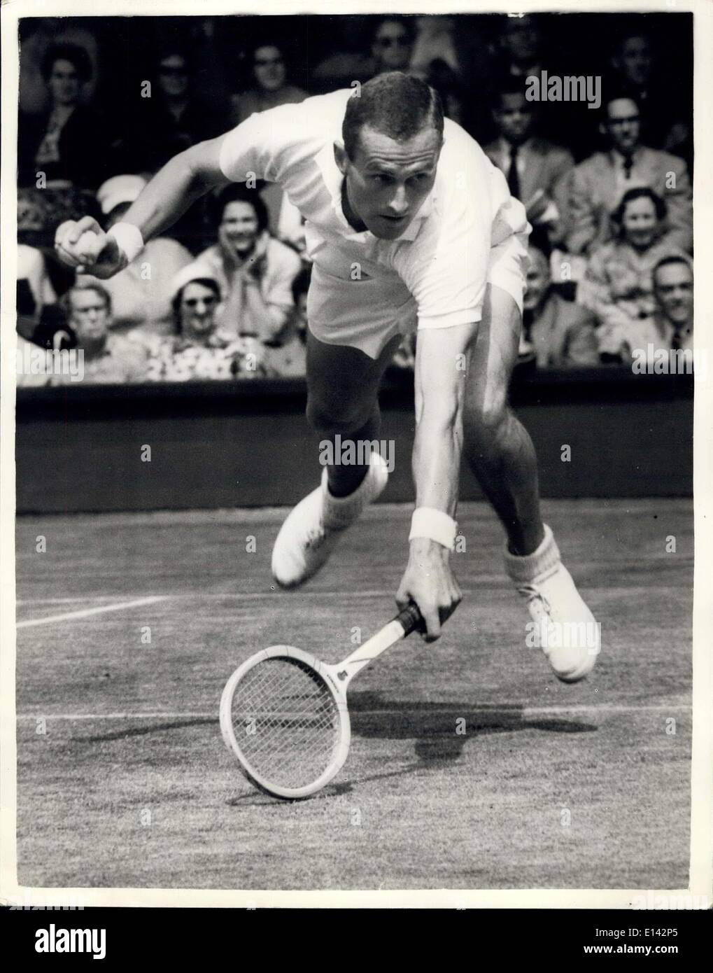 Apr. 04, 2012 - Tennis At Wimbledon - Men's Semi-Finals. K.Nielsen V. N. Fraser. Photo shows Neale Fraser Australia , in play a - Stock Image
