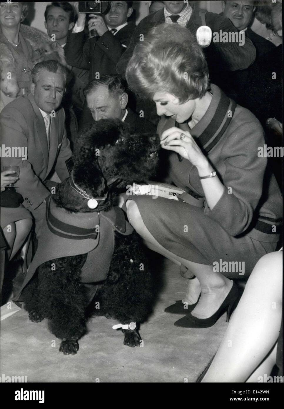 Mar. 31, 2012 - The doggy model is persuaded to pose for the cameras by Cendrine who gives him a chocolate. Both wear the same fashions, in grey and black flannel and both also wear a wrist watch. - Stock Image