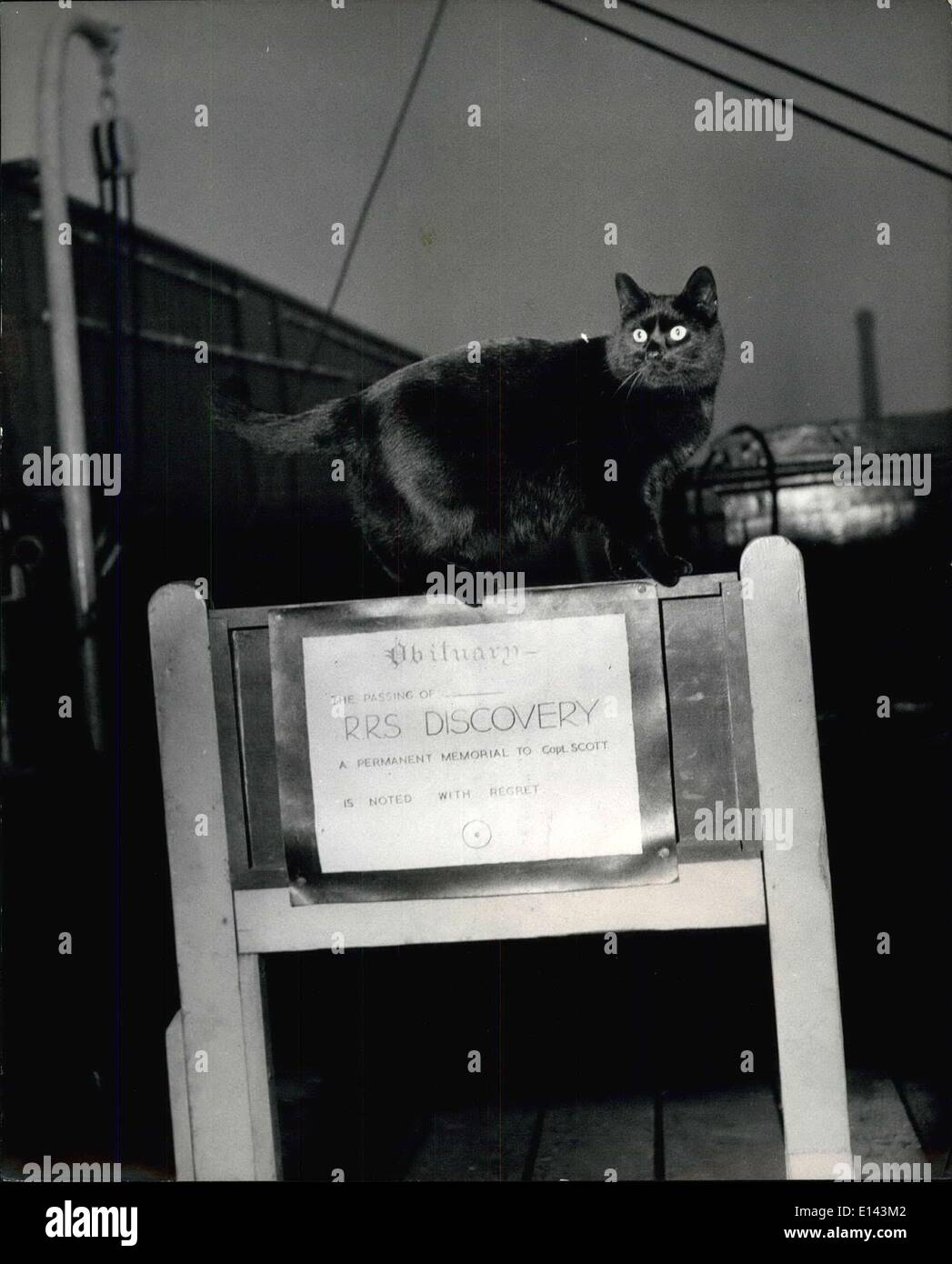 Apr. 04, 2012 - ''Beeps'' The Cat Who Refuse To ''Abandon Ship'': The R.R.S. Discovery, - Stock Image