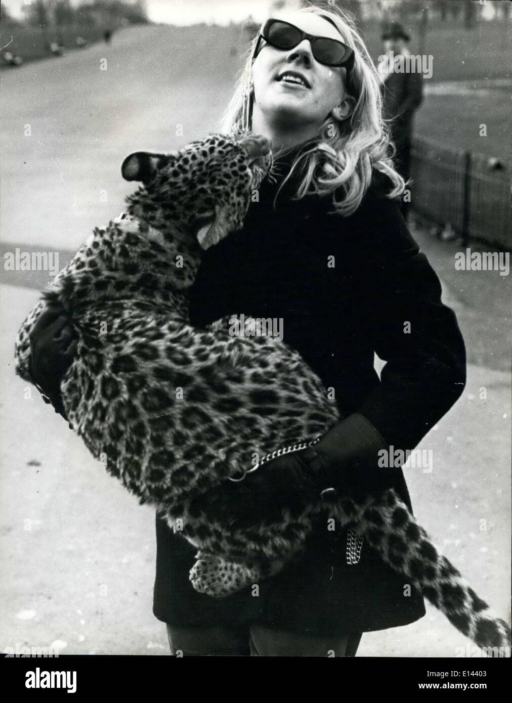 Apr. 04, 2012 - Angela McWilliams, 23 takes Michael her pet leopard down to Kensington Gardens, for his daily walk. - Stock Image