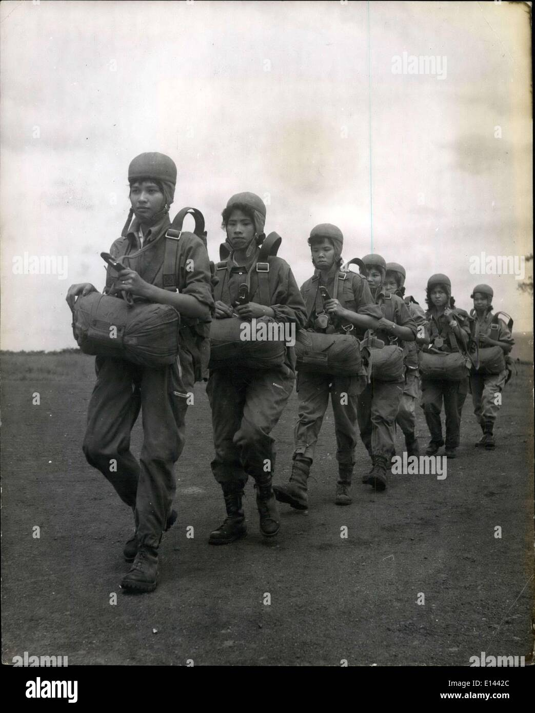 Apr. 04, 2012 - After Training the girls Morning to be parachtuste march back to thei Quartesr at the training school near Saigon. - Stock Image