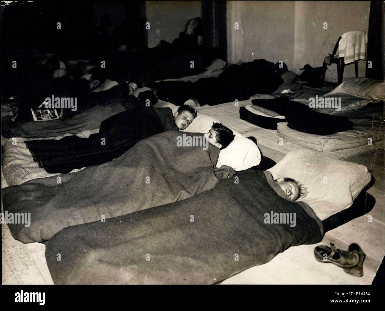 Apr. 04, 2012 - Railway Strike Not Quite Over - Sleepers Seen in The Hall of the Grand Palais Where a Dormitory Has Been organized By the French Red Cross. - Stock Image