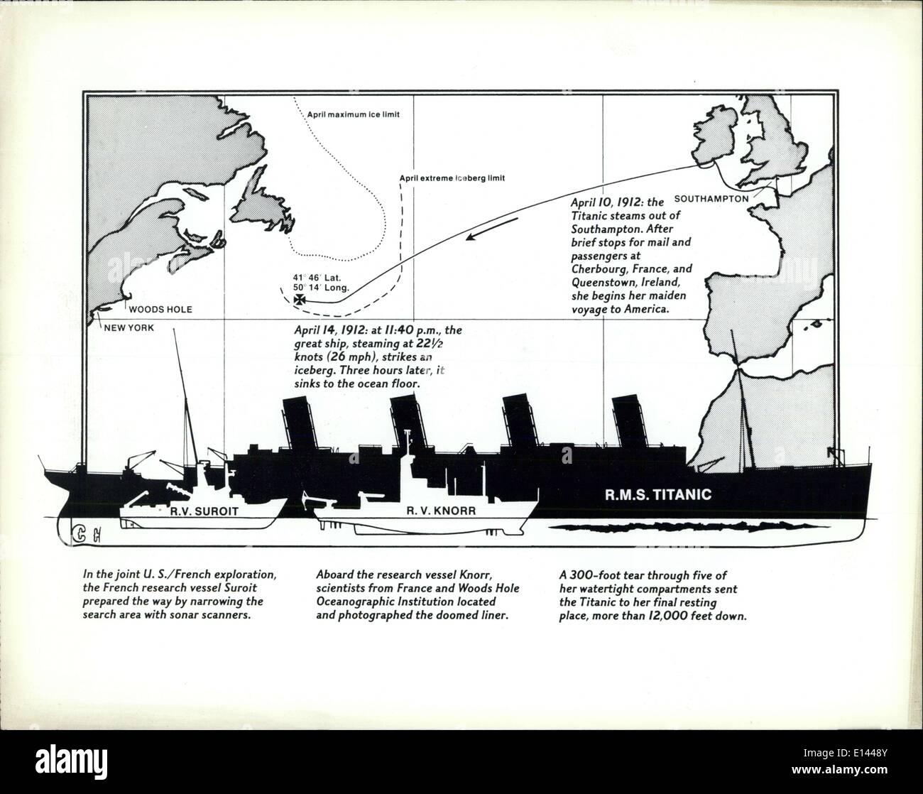 Apr. 04, 2012 - Titanic Diagram map WA-20790-2...Released in Washington,D.C. ,..Sept 11 1985 - Stock Image