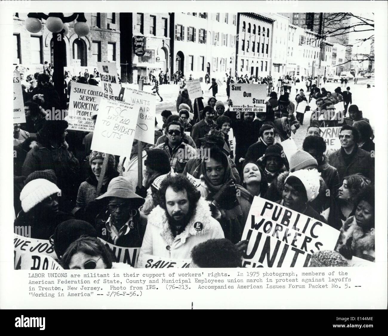 Apr. 04, 2012 - Labor Unions are militant in their support of workers rights. In 1975 photograph, members of the American Federation of State, County and Municipal Employees union march in protest against layoffs in Trenton, New Jersey. - Stock Image