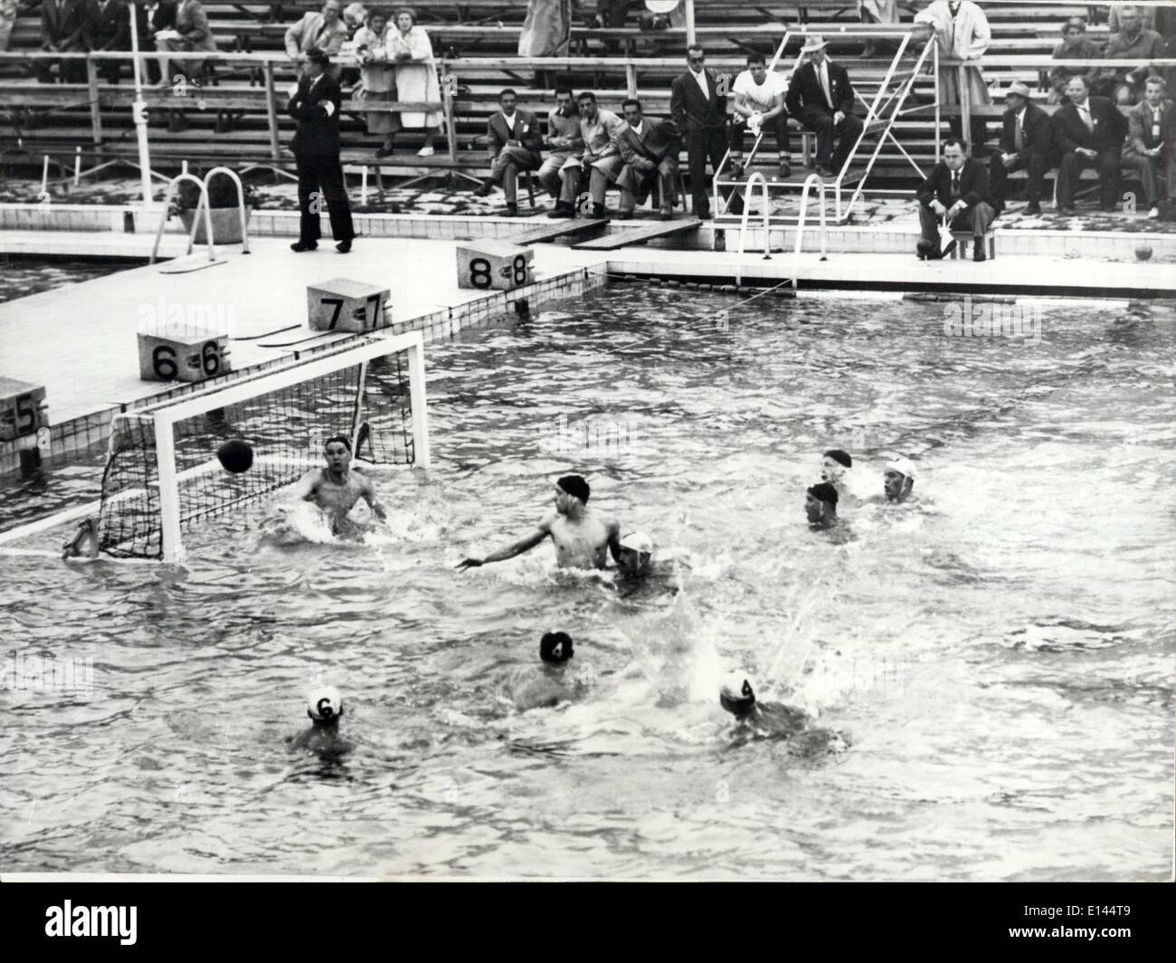 Apr. 04, 2012 - Jeux Olympiques 1952: Match De Water Polo Hollande Contre USSR. - Stock Image