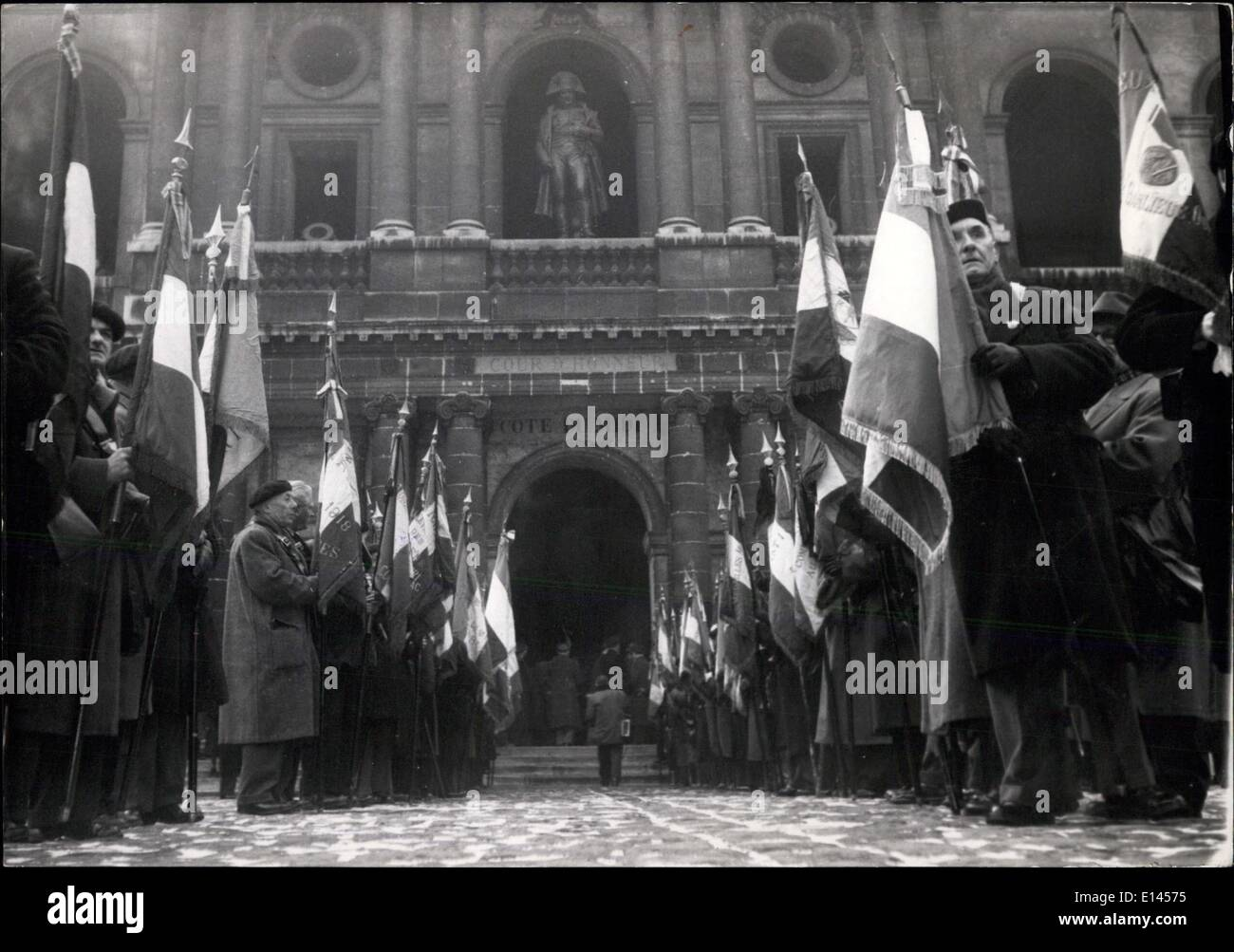 Apr. 04, 2012 - Verdun Battle Commemorated: Ex-Servicemen of World war No.1 with the flags of Disbanded Regiments in the court yard of the Invalides where a ceremony was held this morning on the occasion of the 39th Anniversary of the battle of Verdon. - Stock Image