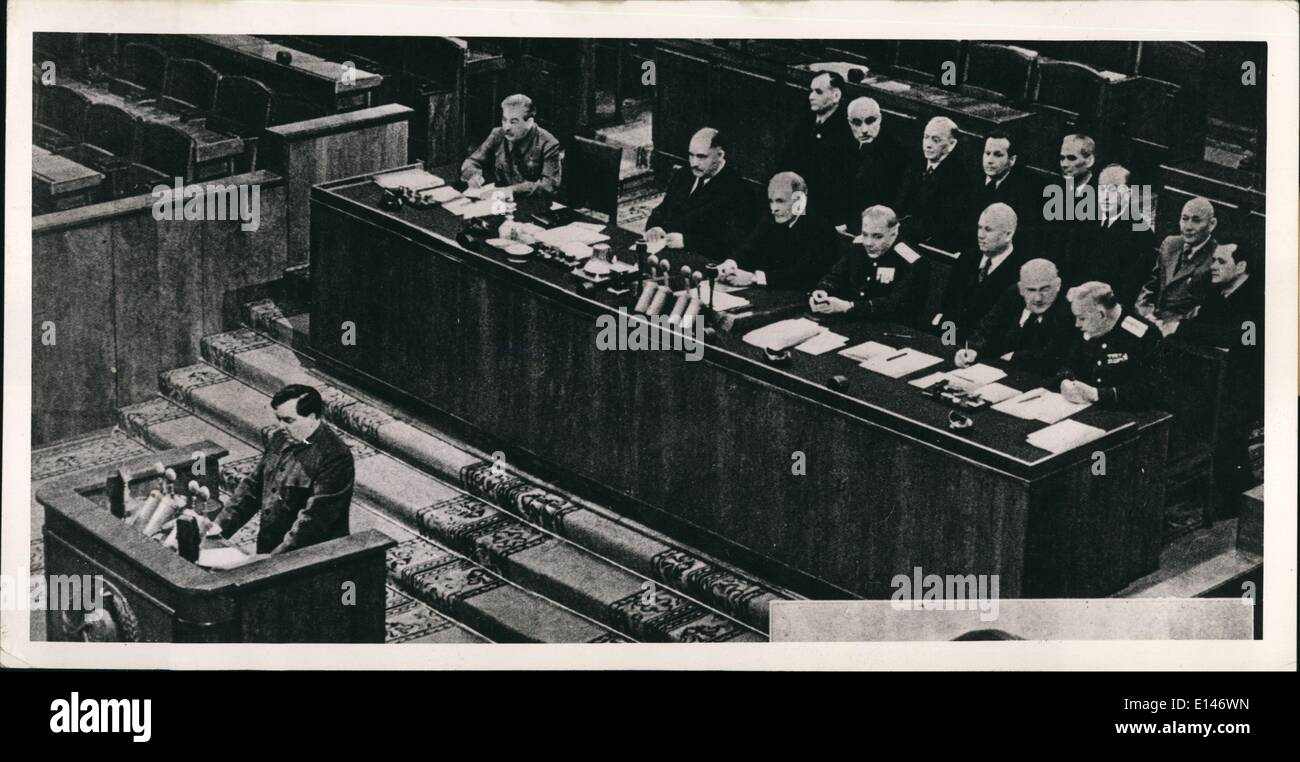Apr. 16, 2012 - Pictured during a statement of accounts is the Presidium of the Soviet Union. Pictured from left to right first - Stock Image