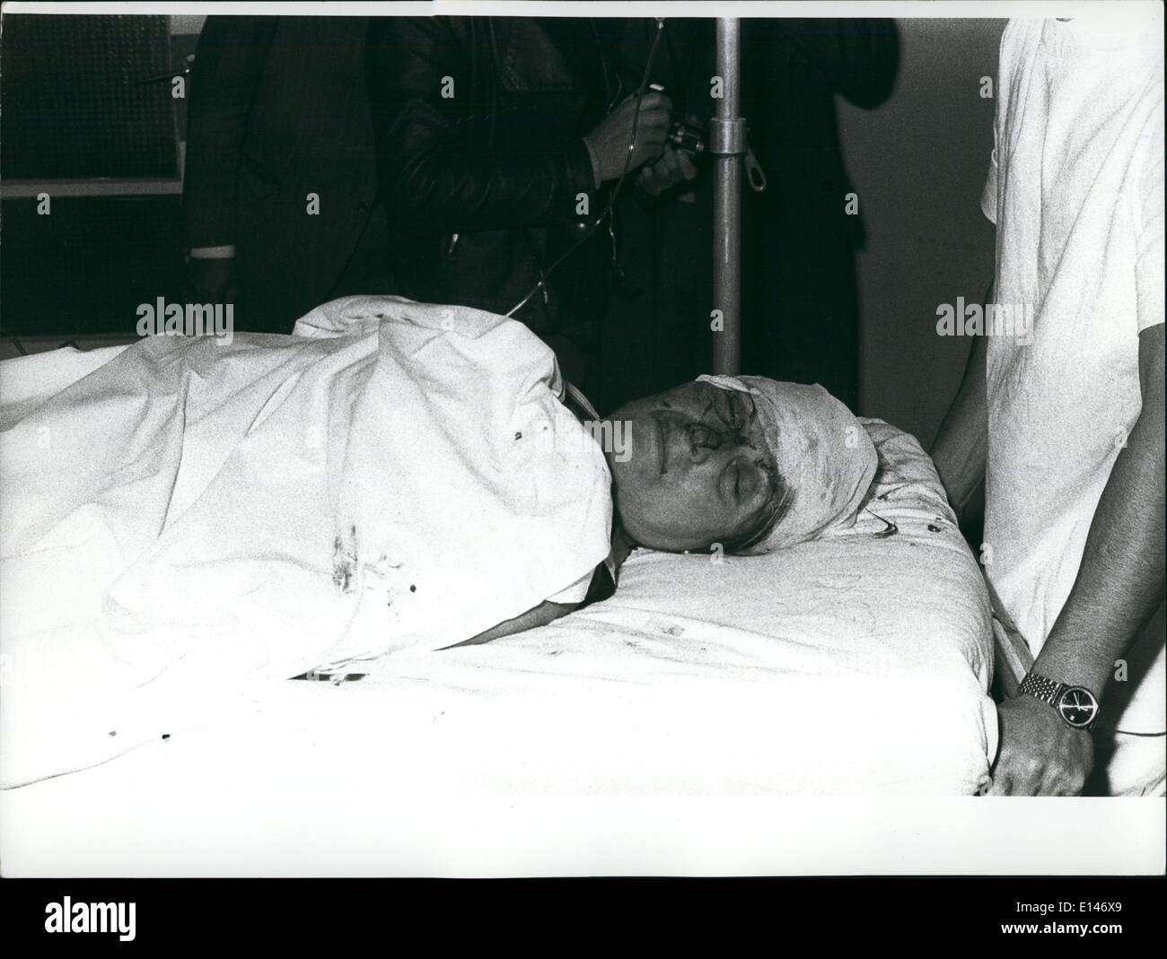 Apr. 16, 2012 - One woman killed and about thirty persons seriously injured in bomb blast. Milan 17 May 1973: At the occasion of the unveiling germany of the bust of police commissioner Luigi Calabresi who was murdered a year ago, a criminal threw a bomb into the crowd. Photo shows One of the many seriously wounded persons immediately upon arrival at the milan first - Aid Station. - Stock Image