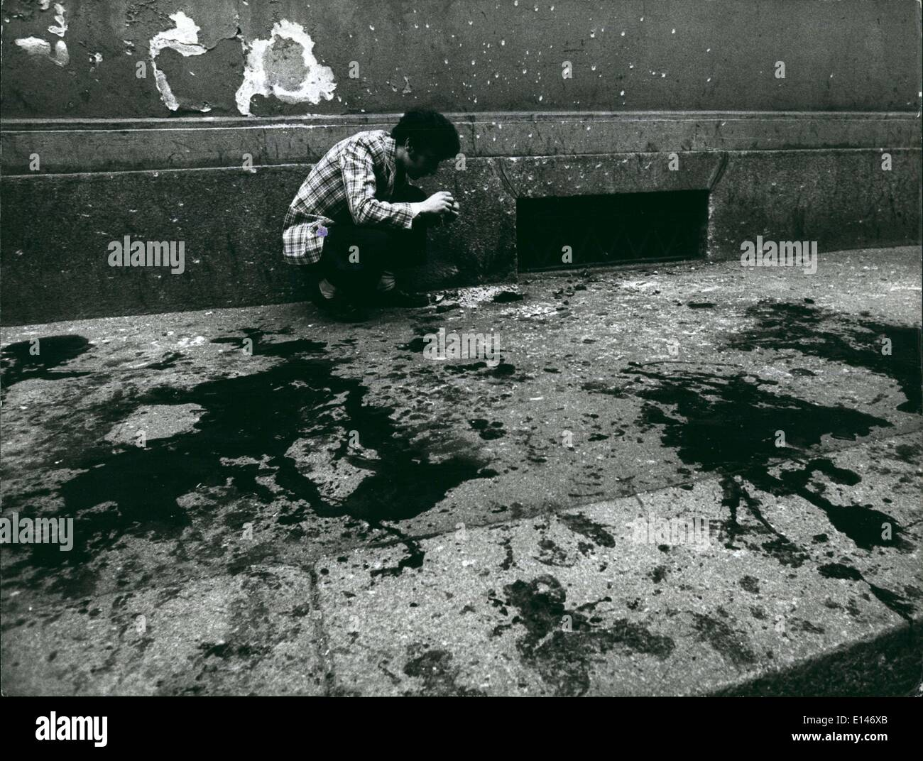 Apr. 16, 2012 - One woman killed and about ~~irty persons Seriously injured in Bomb blast : Milan, 17 May 1973 At Stock Photo