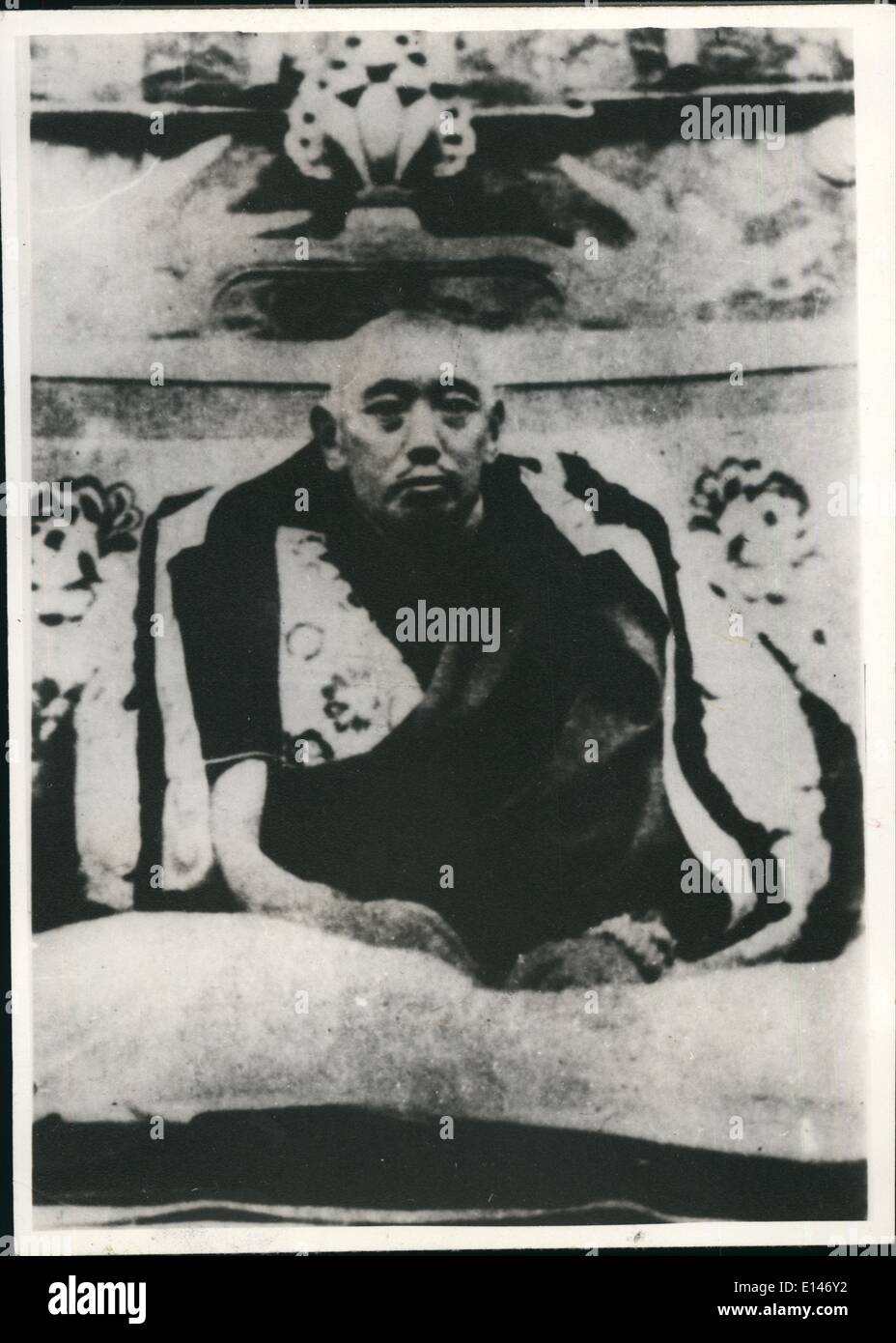 Apr. 16, 2012 - Thupten Gyatso the 13th Dalai Lama of Tibet Birth 1876--Death 1933. His reincarnated representative is Tenzin Gyatso the present Dalai Lam XIV. - Stock Image