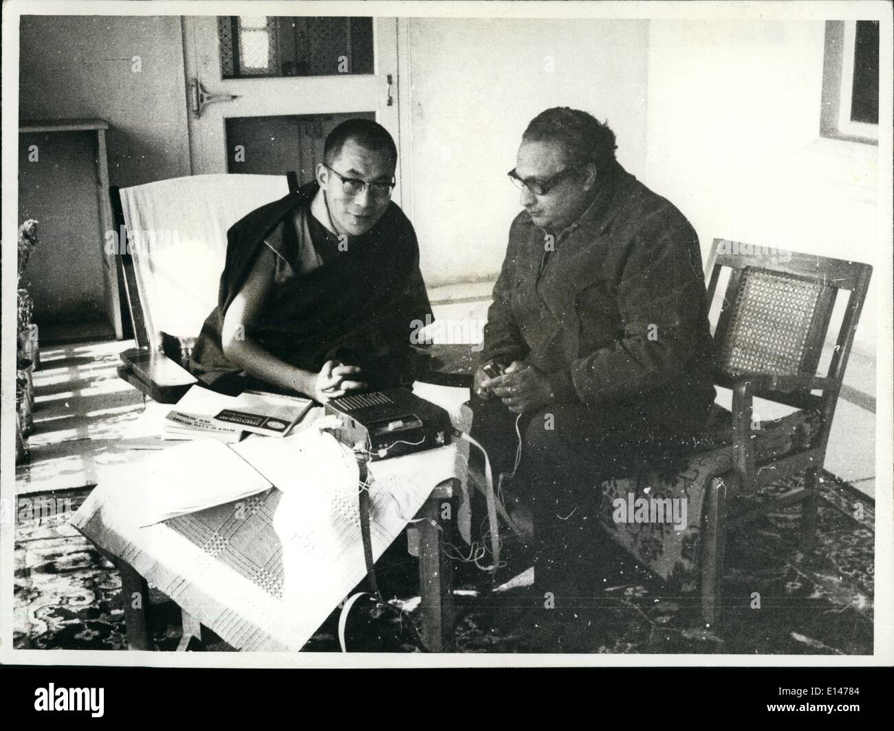 Apr. 16, 2012 - Tenzin Gyatso the present Dalai Lama XIV (birth 1933) extreme left, is being interviewed Dharmashala by Dr. H.N.Banerjee, Director Department of Parapsychology, University of Rajasthan, Jaipur. - Stock Image