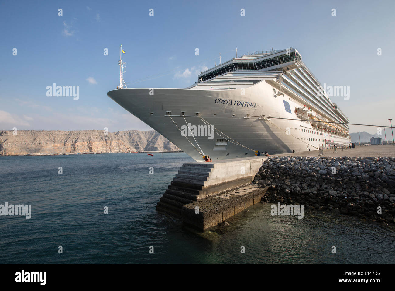 Oman, Khasab, Cruise ship Costa Fortuna - Stock Image