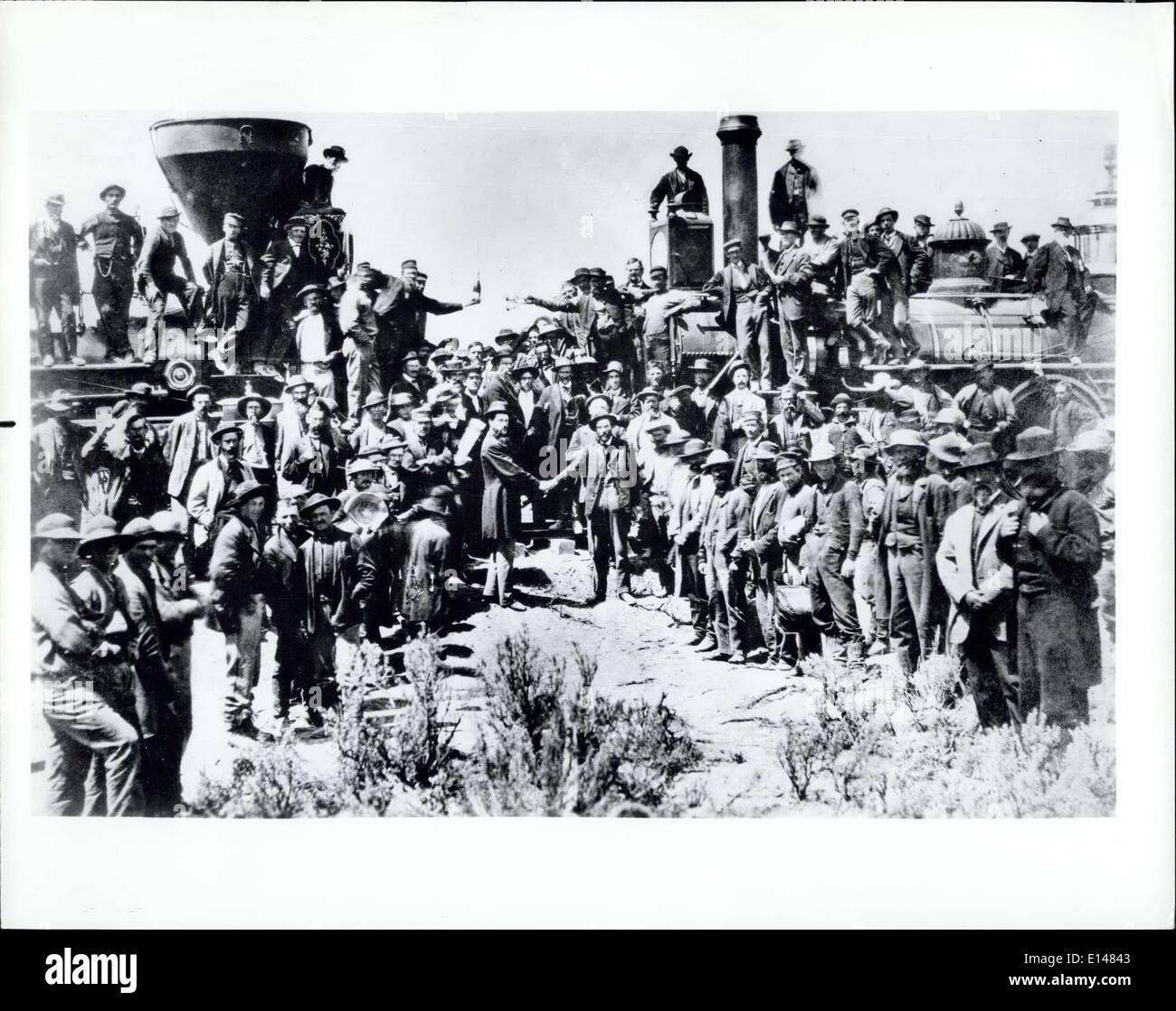 Apr. 17, 2012 - Birthday of a Memorable Achievement: Contennial of transcontinental railroad link-up in U.S. Identifying caption: Celebrating completion of the transcontinental railroad, May 10,1869 at Promontory Point, Utah. - Stock Image