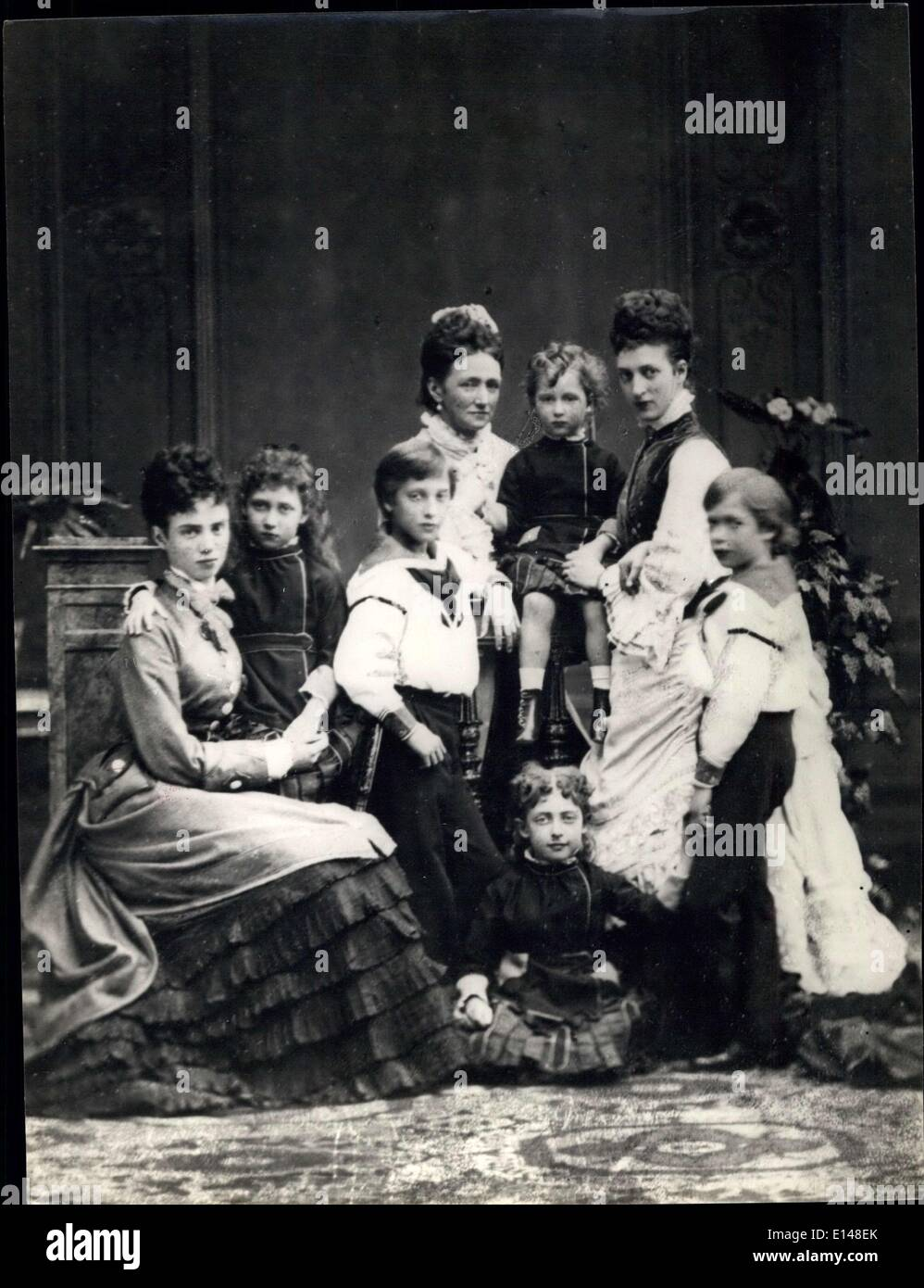 Apr. 17, 2012 - In Victoria's Reign. The Princess of Wales with her mother, sister, and children. Alexandra wife of Edward (later King Edward VII) 1901, daughter of King Christian of Denmark. Alescandra, daughter of Christian IX of Denmark Mother Louise (daughter of the Cond-grave Hesse-Cassel) Alescandra had six children (3 boys and 3 girls). Sister Dagmar (married Alexander III of Russia) - Stock Image