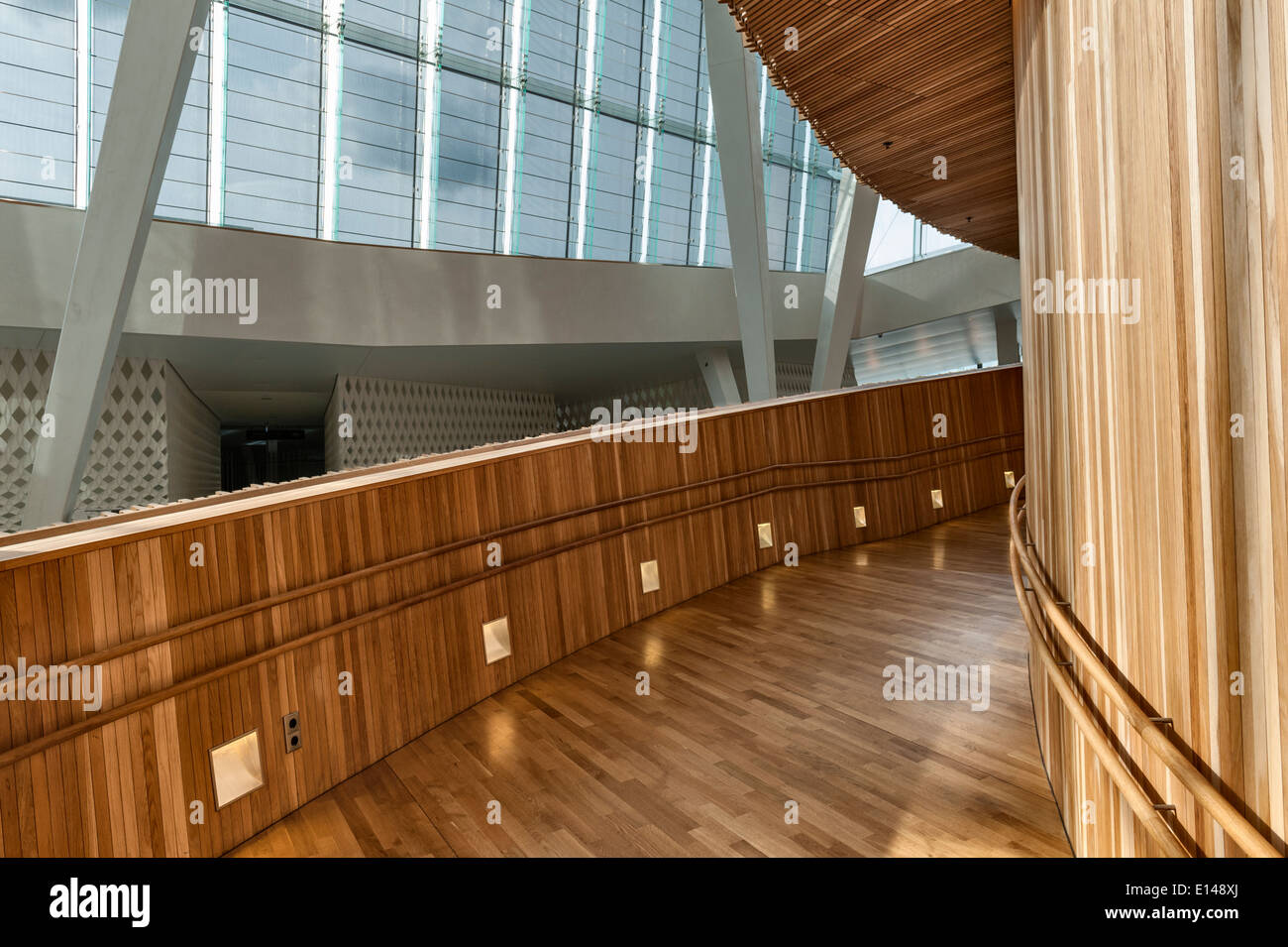 Interior of the Opera House (Operahuset) in Oslo, Norway, designed in 2003 by the Norwegian firm Snøhetta - Stock Image