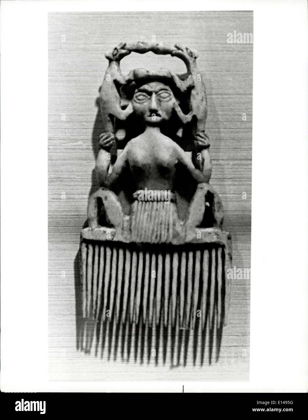 Apr. 17, 2012 - Art Of The First Americans: Pone comb of Salish tribe, sent home by a Hudson's Ray Company man to his ''Literary and Antiquarian Society'' in 1833, proves art's universality in its suggestion of Asian motifs. - Stock Image