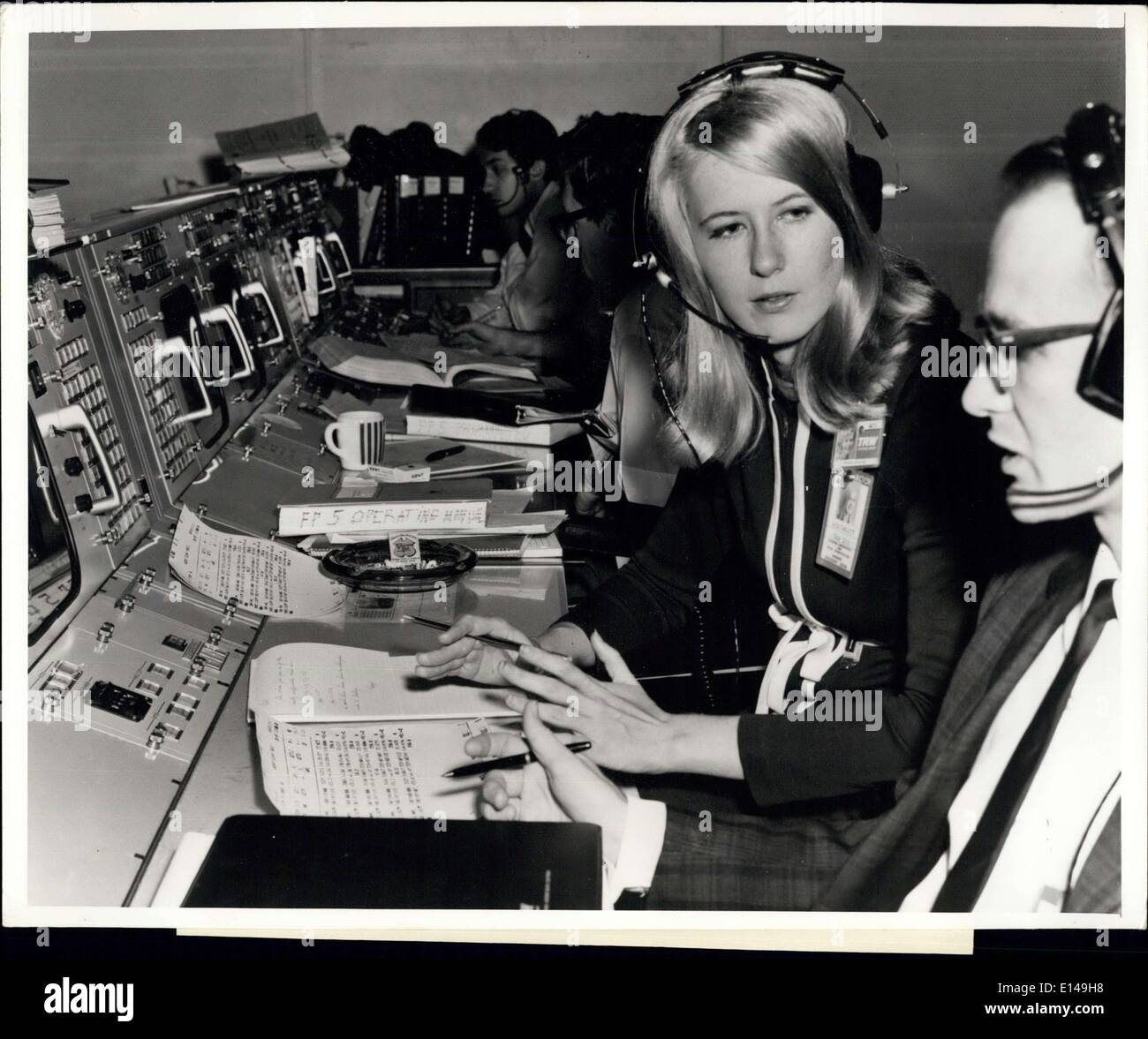 Apr. 17, 2012 - Poppy Northcutt, a mathematician at the Houston Operations of TRW's Systems Group, staffs a console in NASA's Mission Control Center-Houston and is responsible for computing manoeuvres which would bring the Apollo spacecraft home from the Moon. Poppy was on duty in the Control Center when Apollo 8 and Apollo 10 launched out of lunar orbit for their return to the Earth. The 25-year-old native of Dayton, Texas, joined TRW and the Apollo program immediately following her graduation from The University of Texas - Stock Image