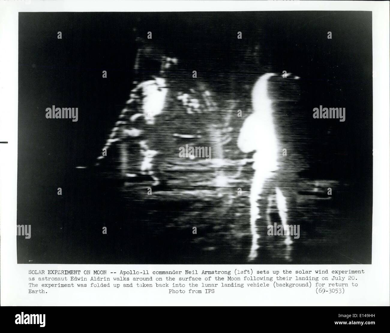 Apr. 17, 2012 - Solar experiment On Moon-Apollo-11 commander Neil Armstrong left sets up the Solar Wind experiment Stock Photo