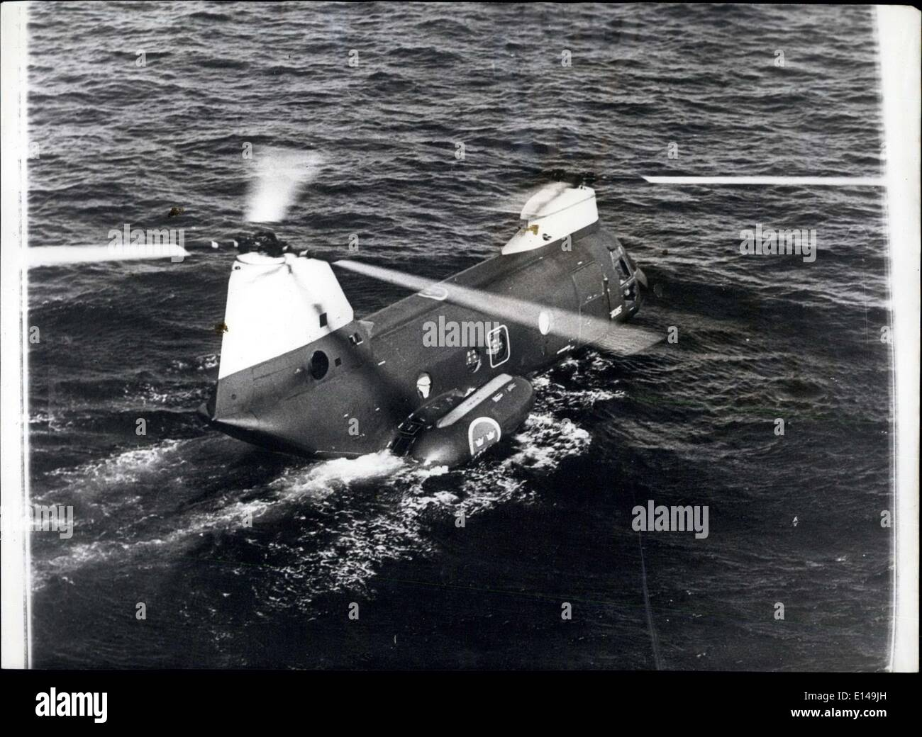 Apr. 17, 2012 - Amphibious helicopter uses revealed: Helicopters are now becoming amphibious. This Boeing HKP-4 belonging to the Swedish Air Forch is seen resting on the high seas like a float. The new floating concept developed in the US permits a much greater versatility in military operations. It is even planned to use the amphi-copter extensively in future undersea warfare technique. Photo shows Amphibious helicopter HKP-4 seen resting atop the ocean during a recent military exercise. - Stock Image