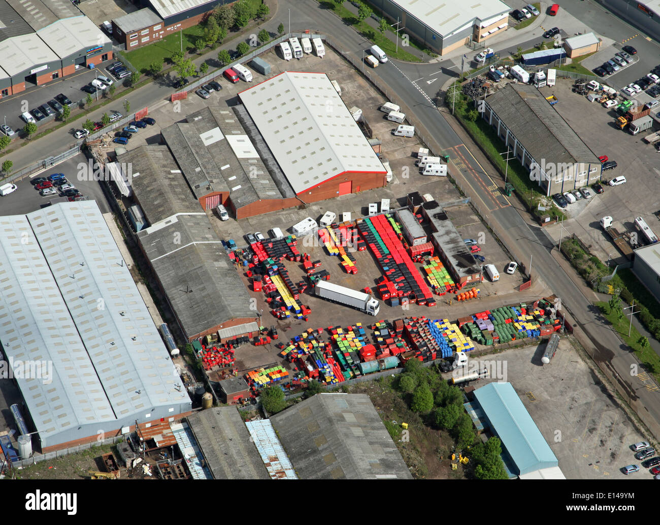 aerial view of colourful stock in a warehouse yard in Widnes - Stock Image