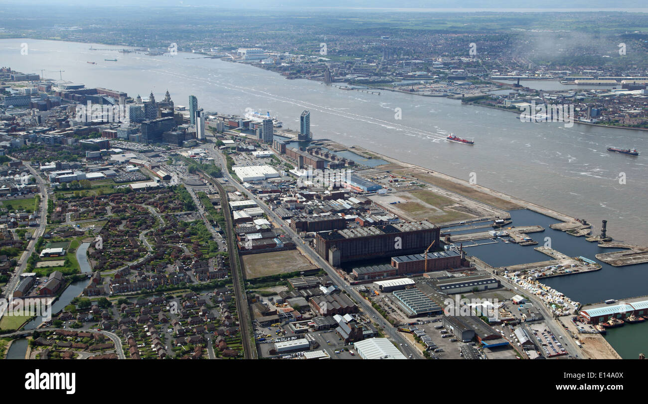 aerial view of Liverpool and the Mersey River Estuary towards Birkenhead - Stock Image