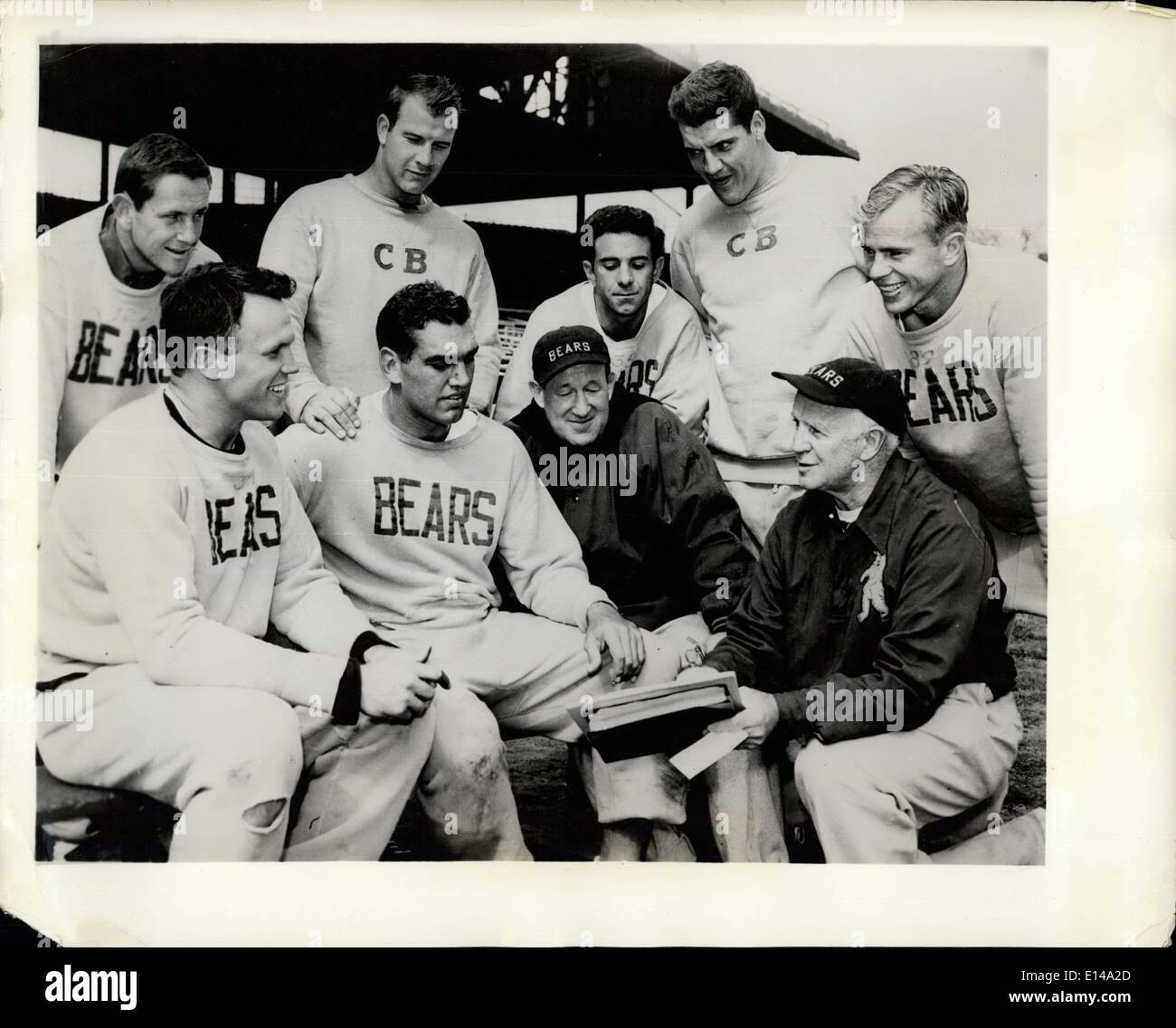 Apr. 17, 2012 - Catholic Members of Professional Football Team: Chicago: Catholic members of the Chicago ''Bears'' Professional - Stock Image
